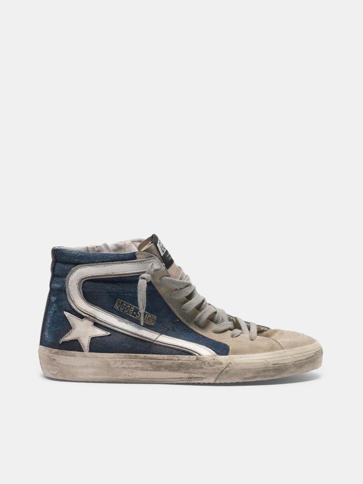 Golden Goose - Sneakers Slide in suede e denim in