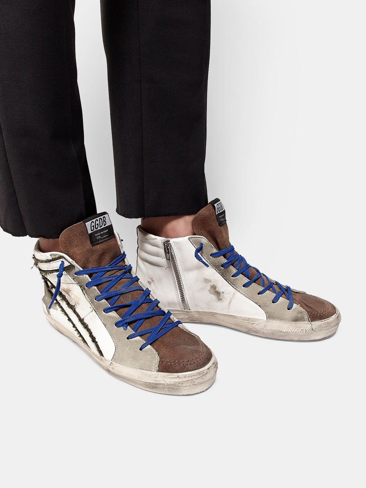 Golden Goose - Leather and suede sneakers with inserts in raw edge canvas in