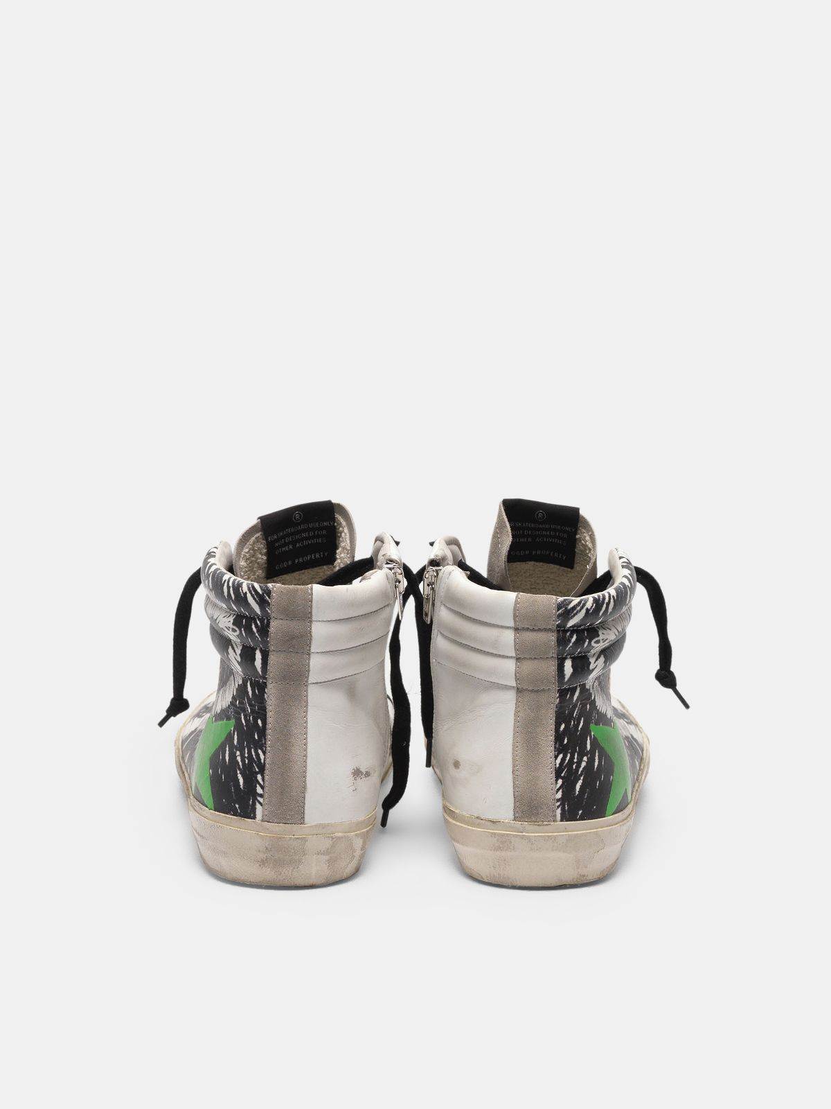 Golden Goose - Sneakers Slide in pelle e suede con stampa grafica in