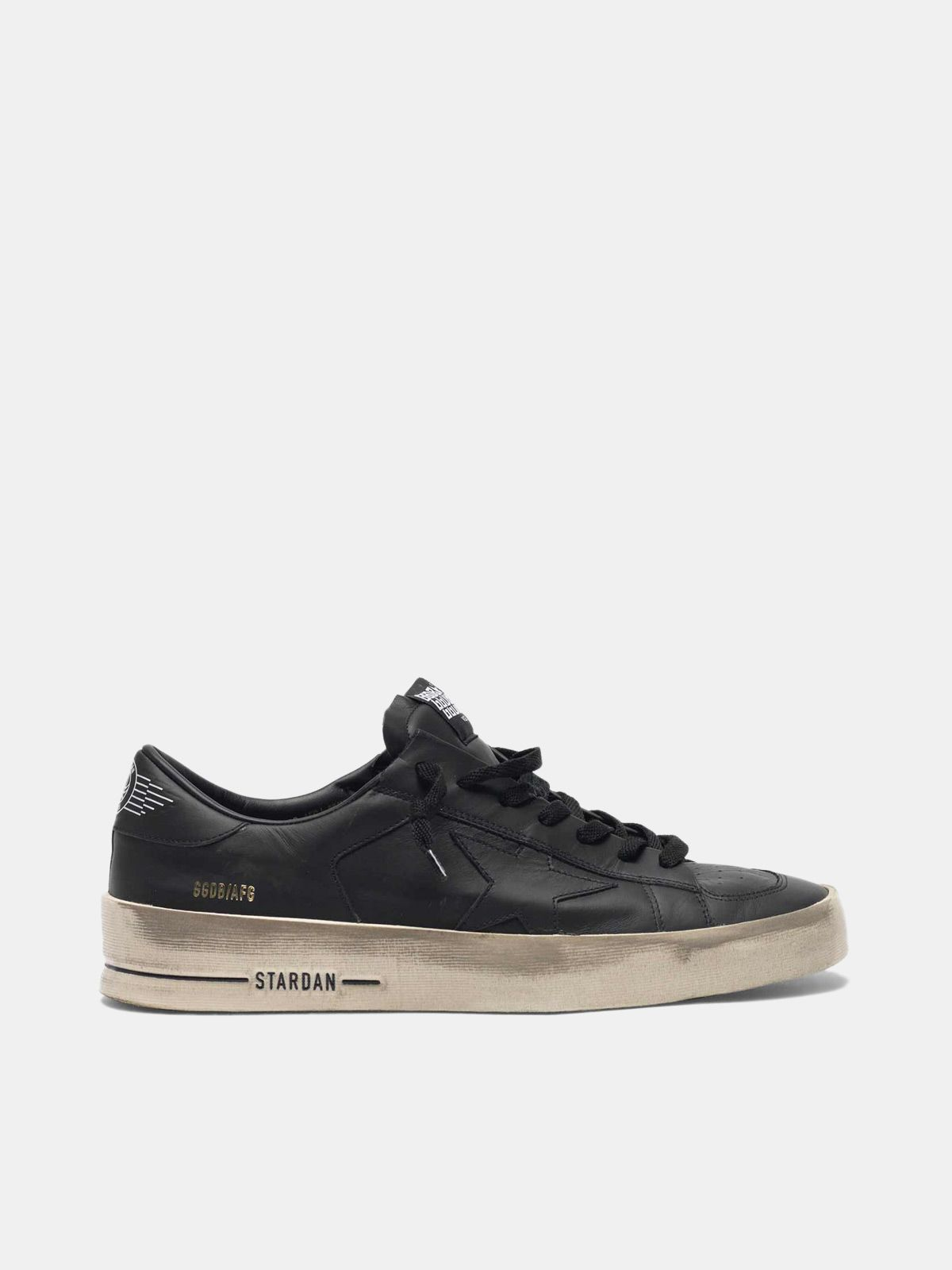 Golden Goose - Stardan sneakers in total black leather with vintage finish in