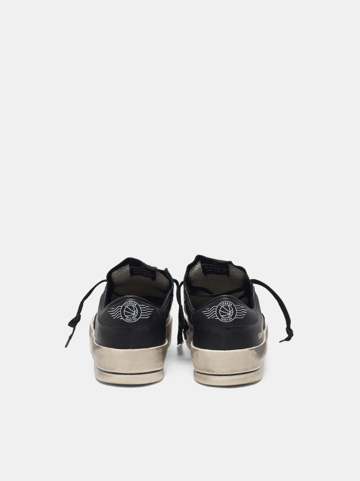 Golden Goose - Sneakers Stardan in pelle total black trattamento vintage in
