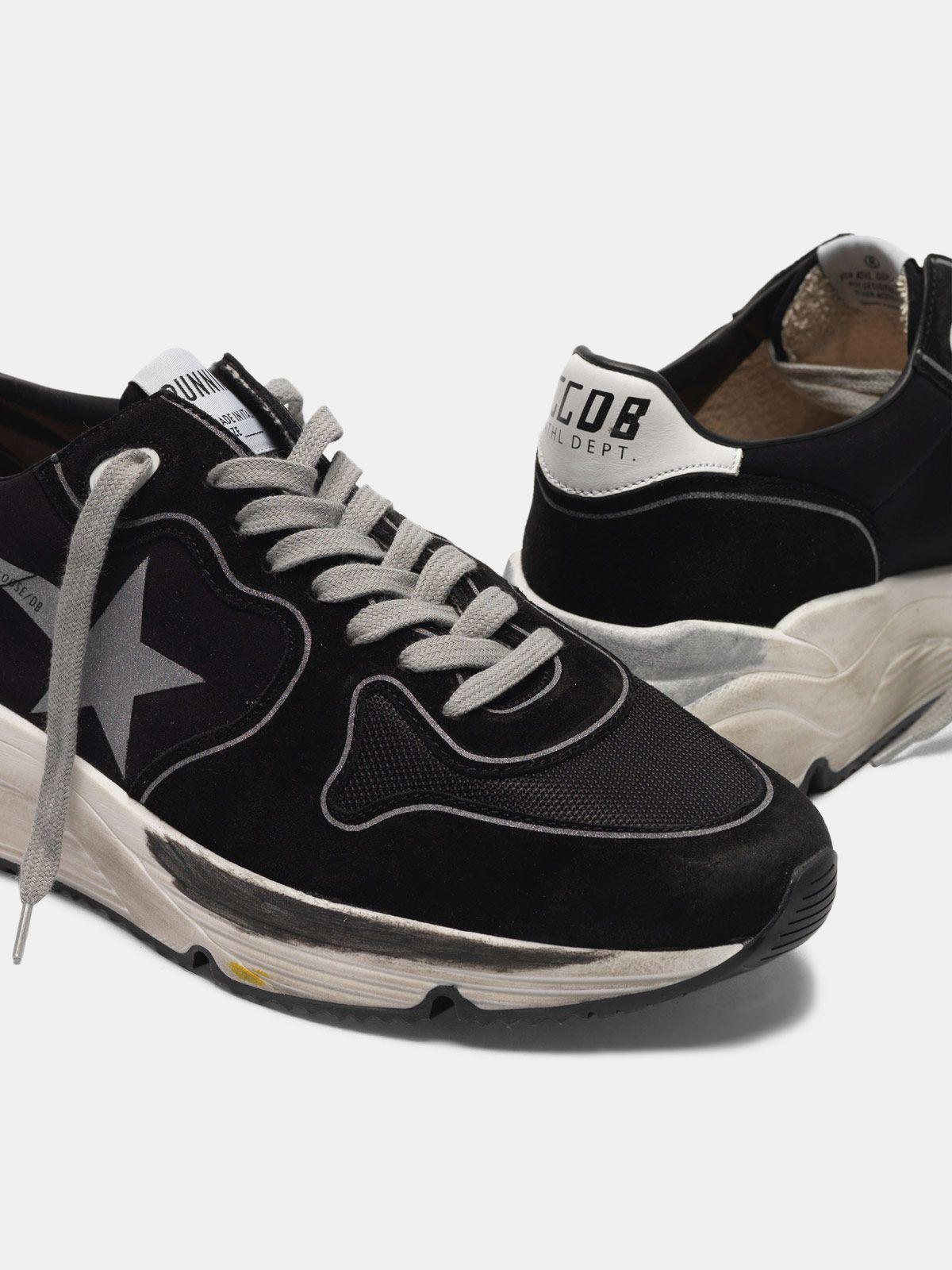 Golden Goose - Sneakers Running Sole in pelle e lycra con stella silver in