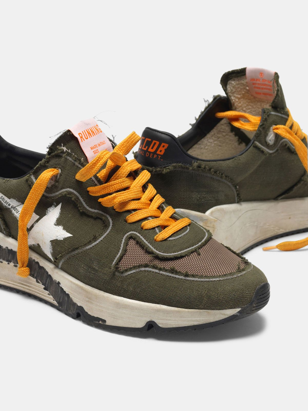Golden Goose - Running Sole sneakers in canvas with raw edges in