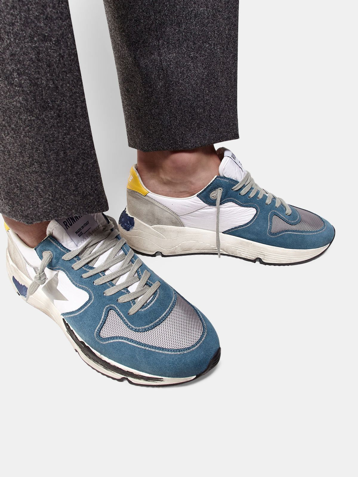 Golden Goose - Running Sole sneakers in light blue leather with silver star in