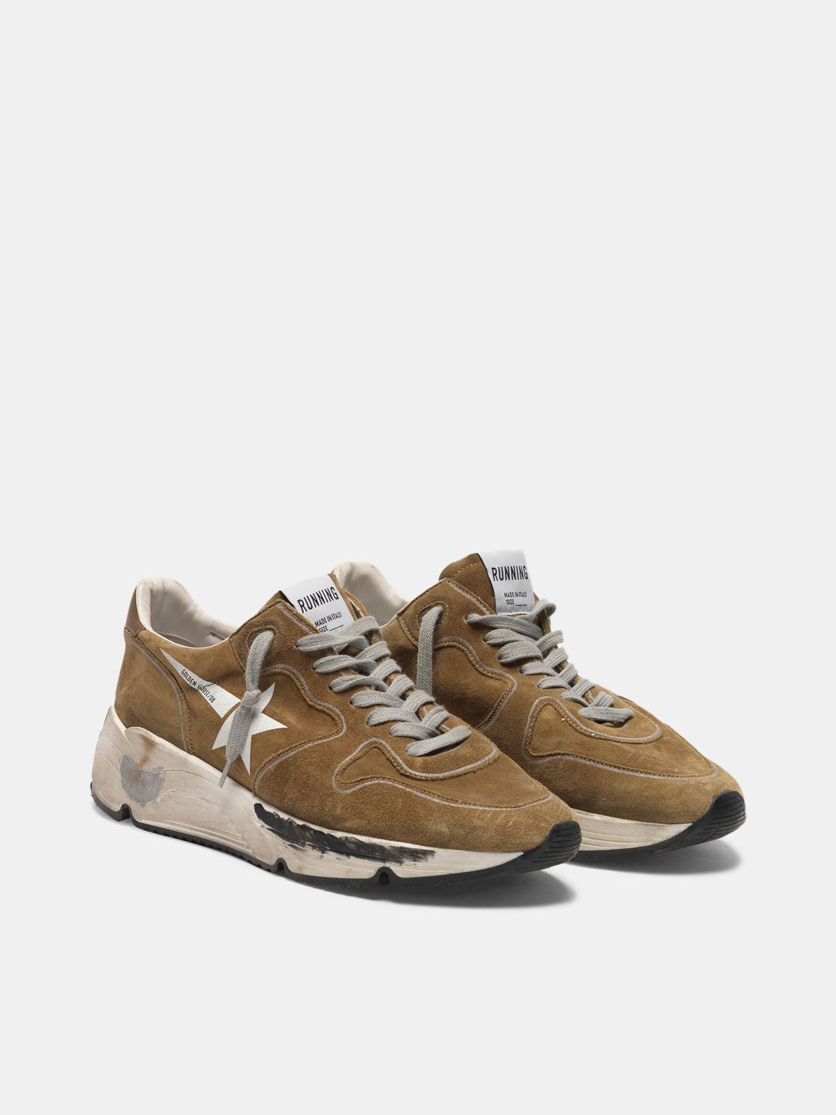 Golden Goose - Sneakers Running Sole in suede con stella bianca in