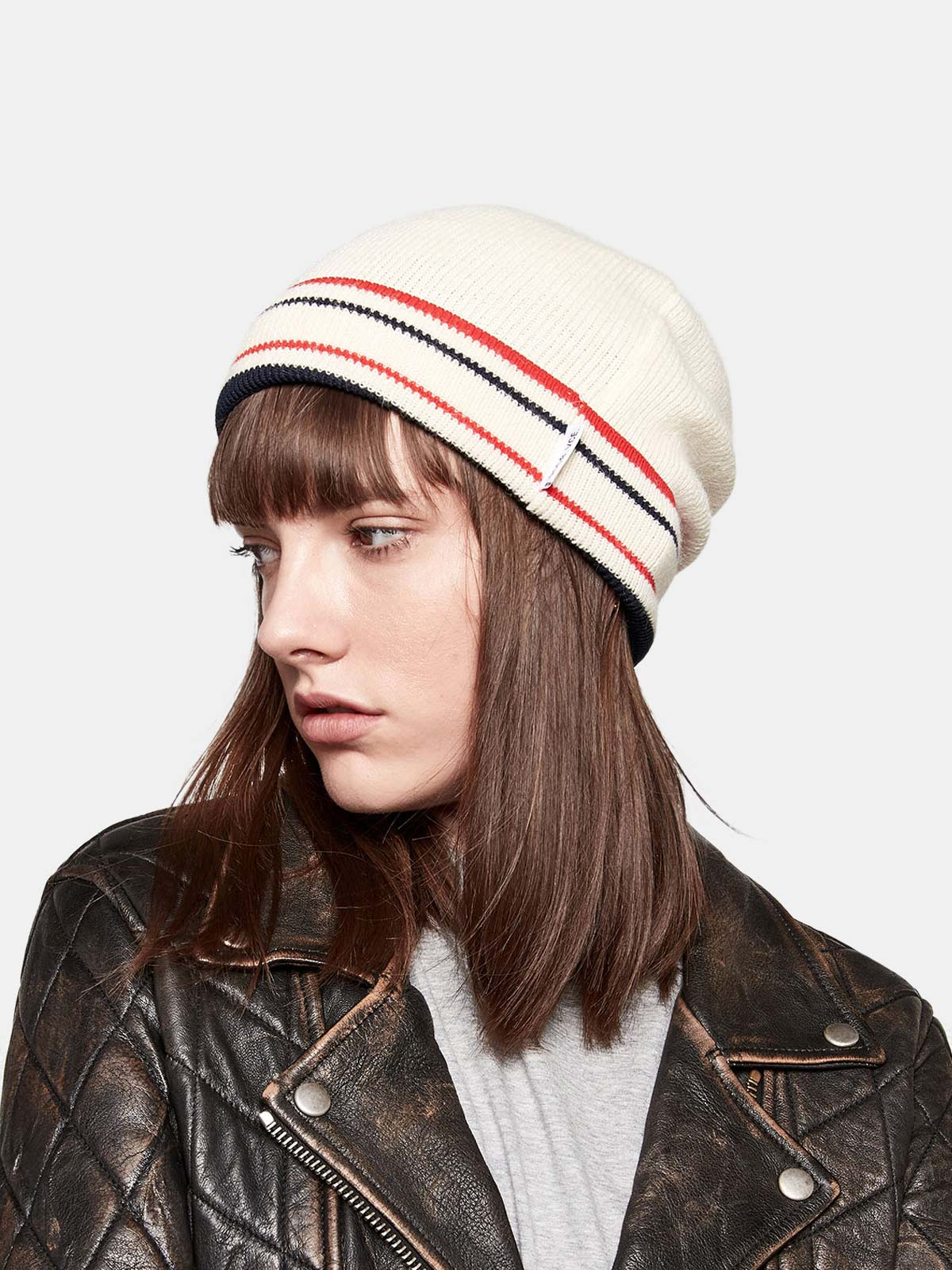 Golden Goose - Kyoko wool beanie with stripes in nylon in