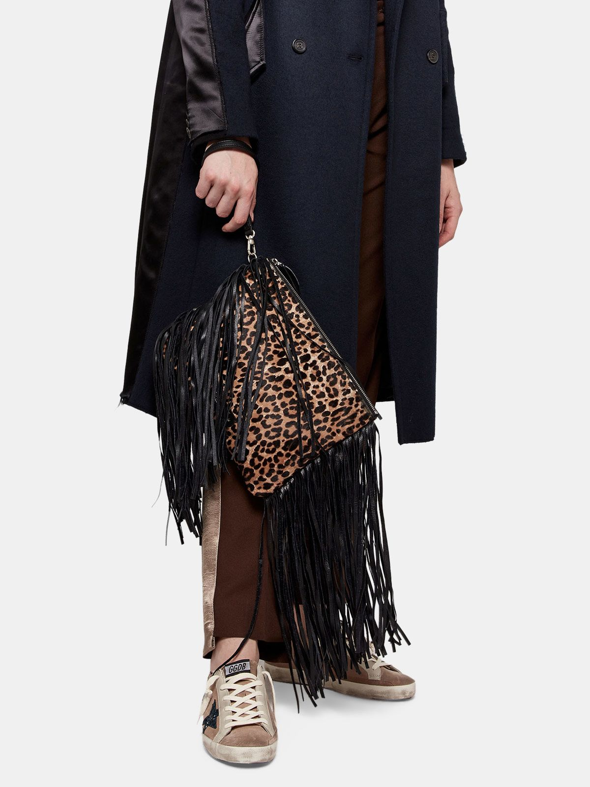 Golden Goose - XL Toast clutch bag in leather with suede fringes in