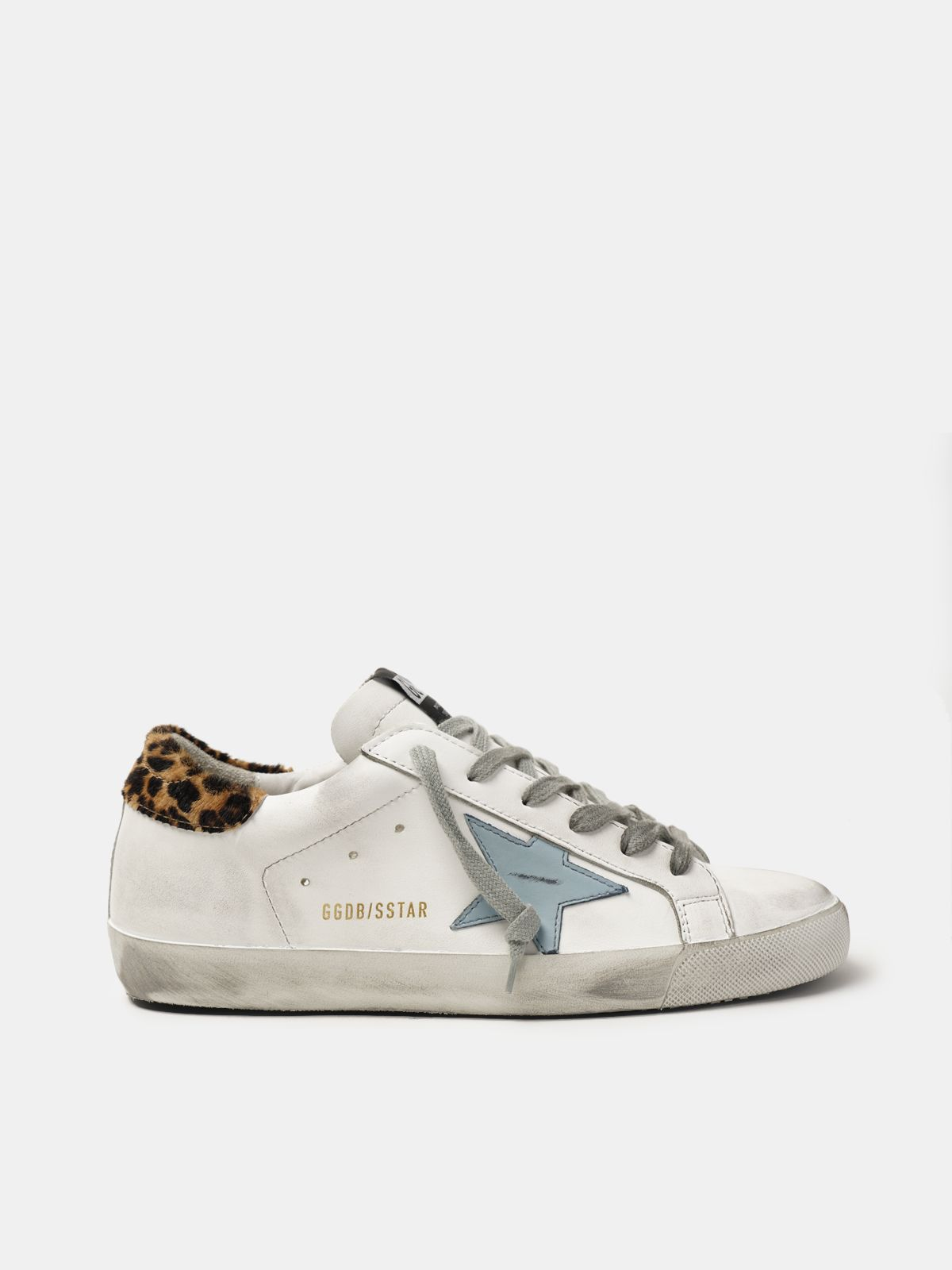 Golden Goose - Super-Star sneakers in leather with leopard print heel tab in