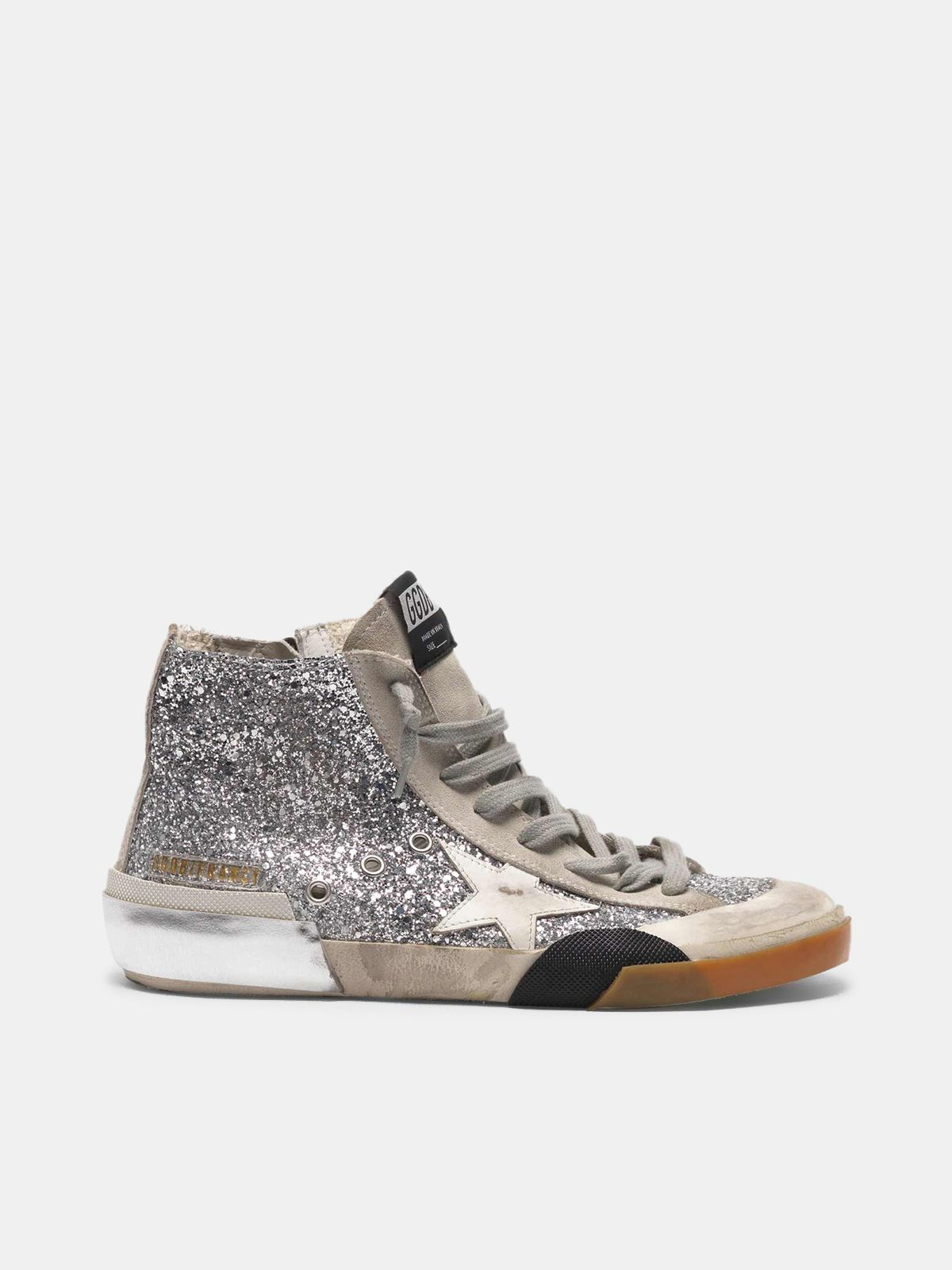 Golden Goose - Slide sneakers in patchwork style with multi-foxing technique and glitter upper in