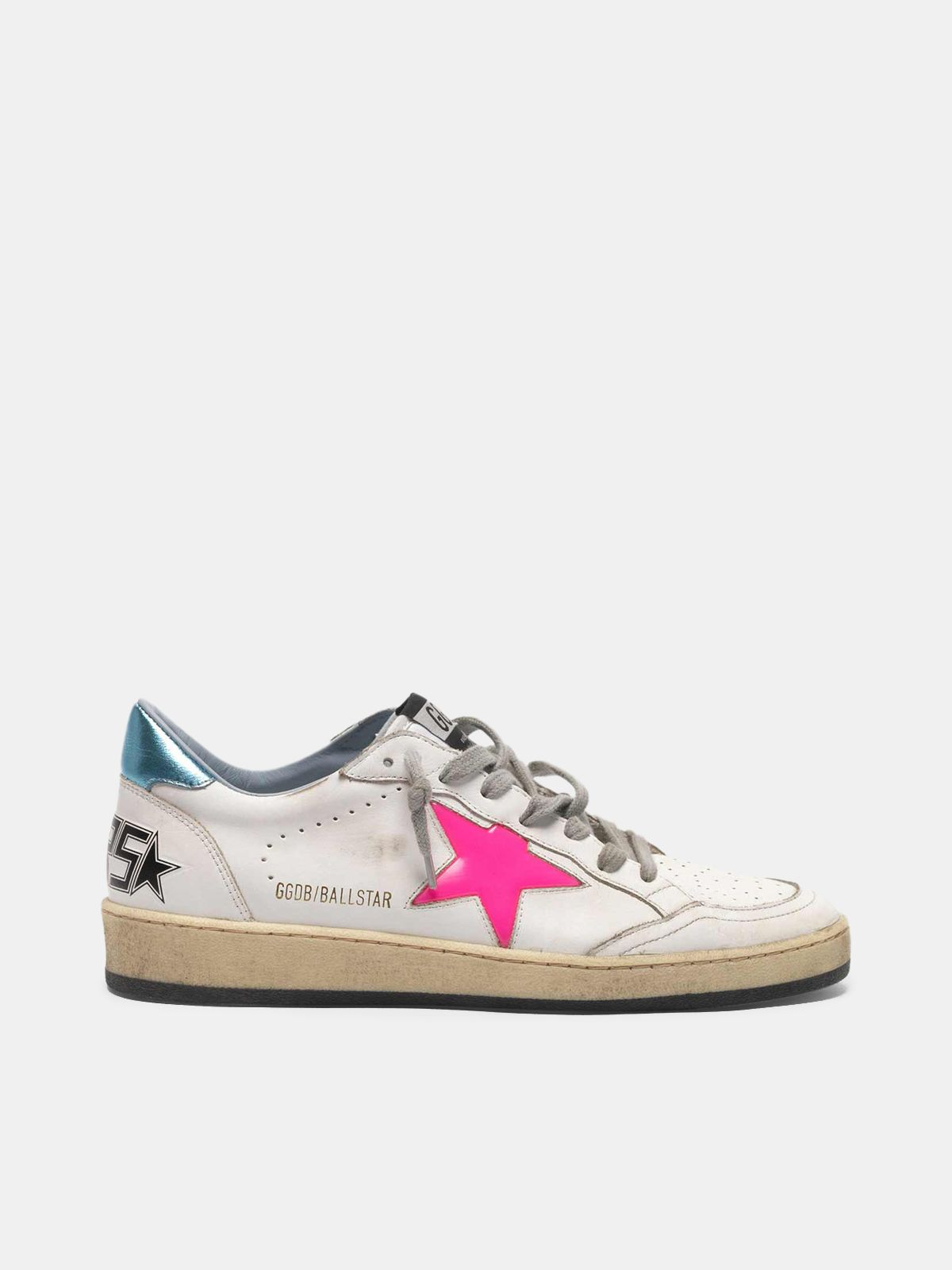Golden Goose - Ball Star sneakers with fuchsia star and sky blue heel tab in
