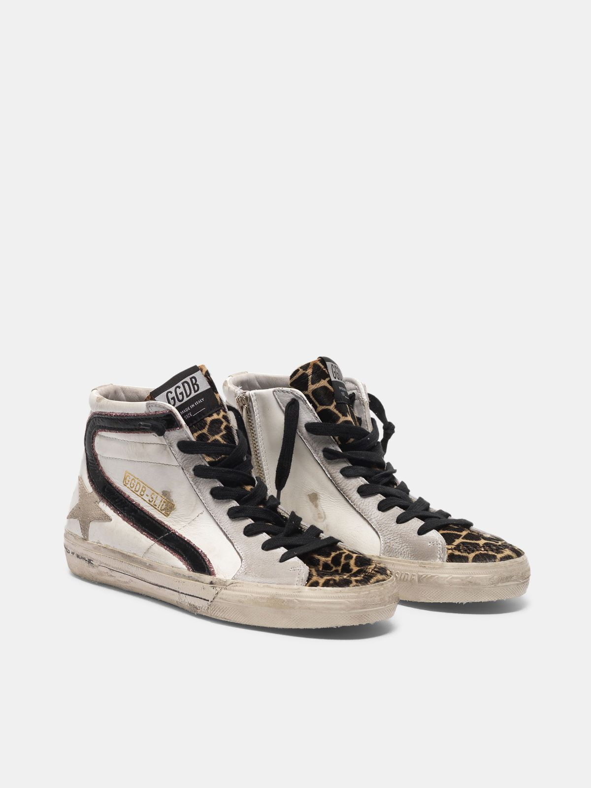 Golden Goose - Slide sneakers with leopard-print pony skin insert and glitter detail in