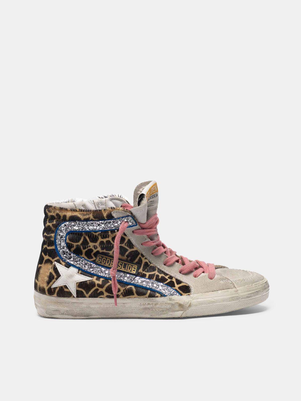 Golden Goose - Slide sneakers in leopard-print pony skin in