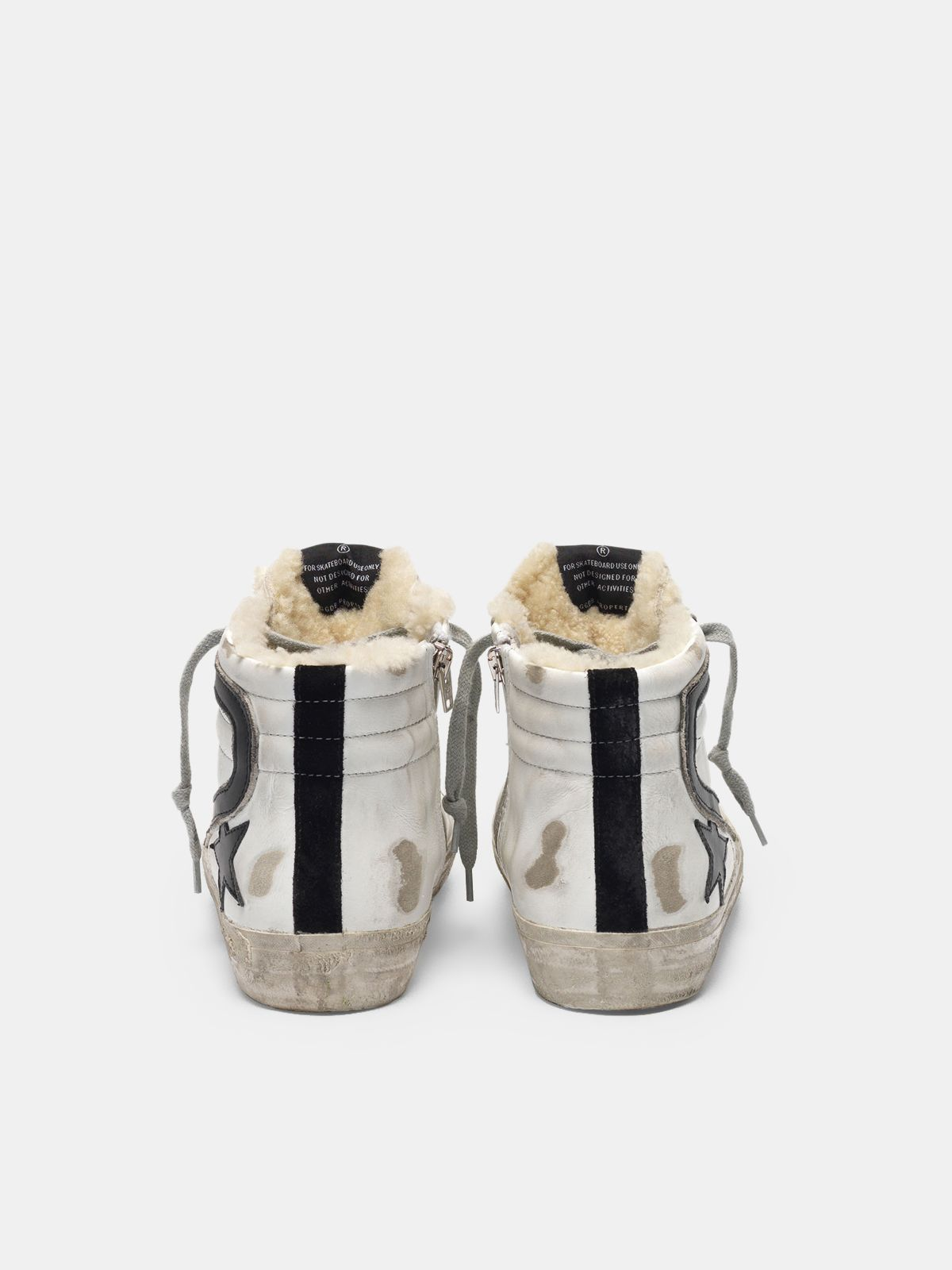 Golden Goose - Slide sneakers in leather with shearling insert in
