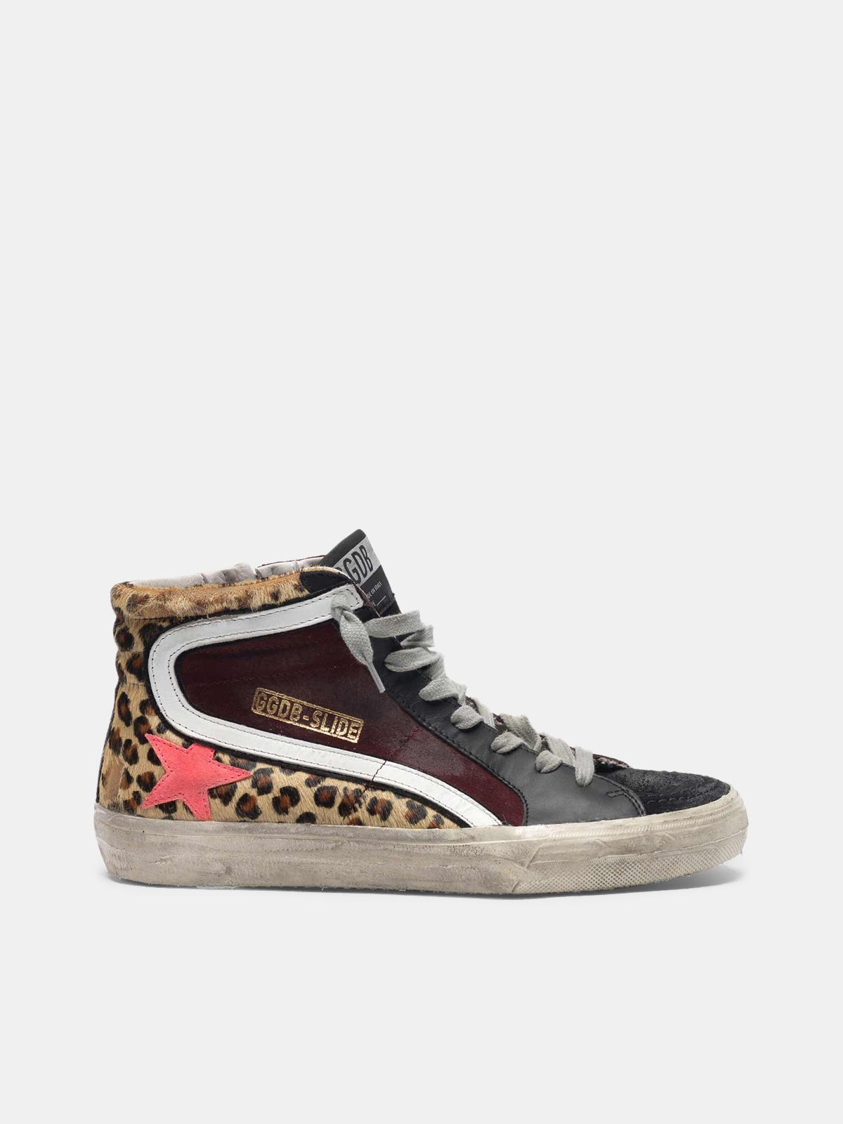 Golden Goose - Slide sneakers in leopard print pony skin and suede with pink star in