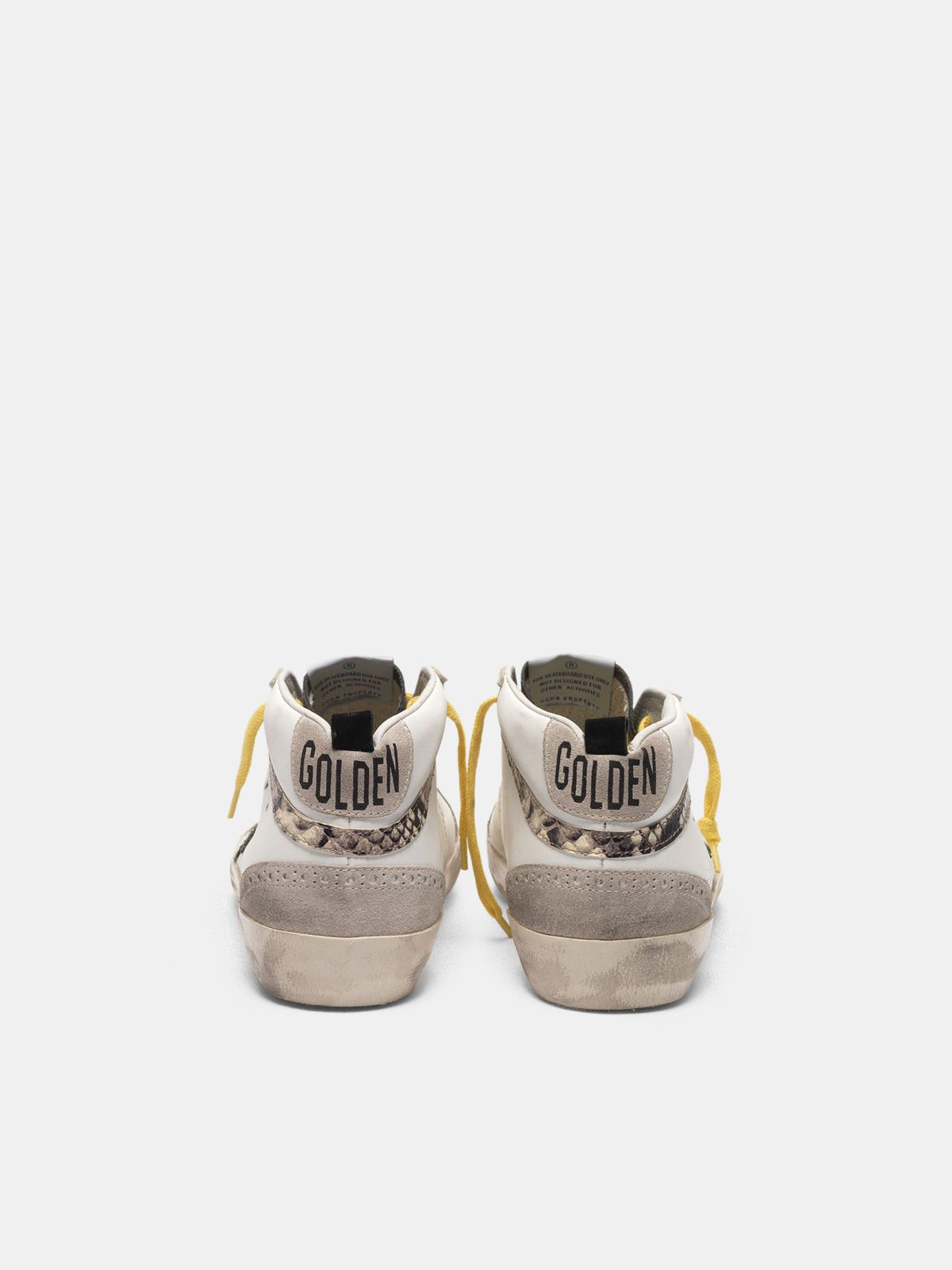 Golden Goose - Mid-Star sneakers in leather with snake-print insert in