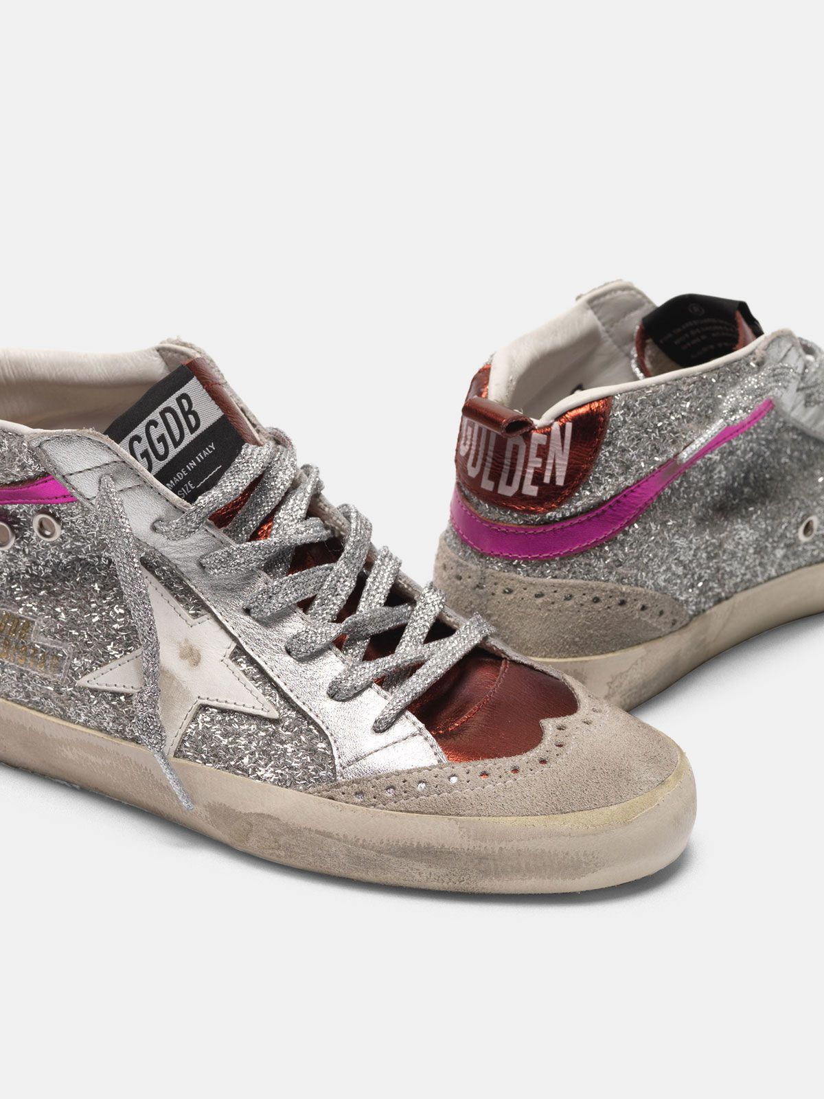 Golden Goose - Mid-Star sneakers in metallic leather and glitter in