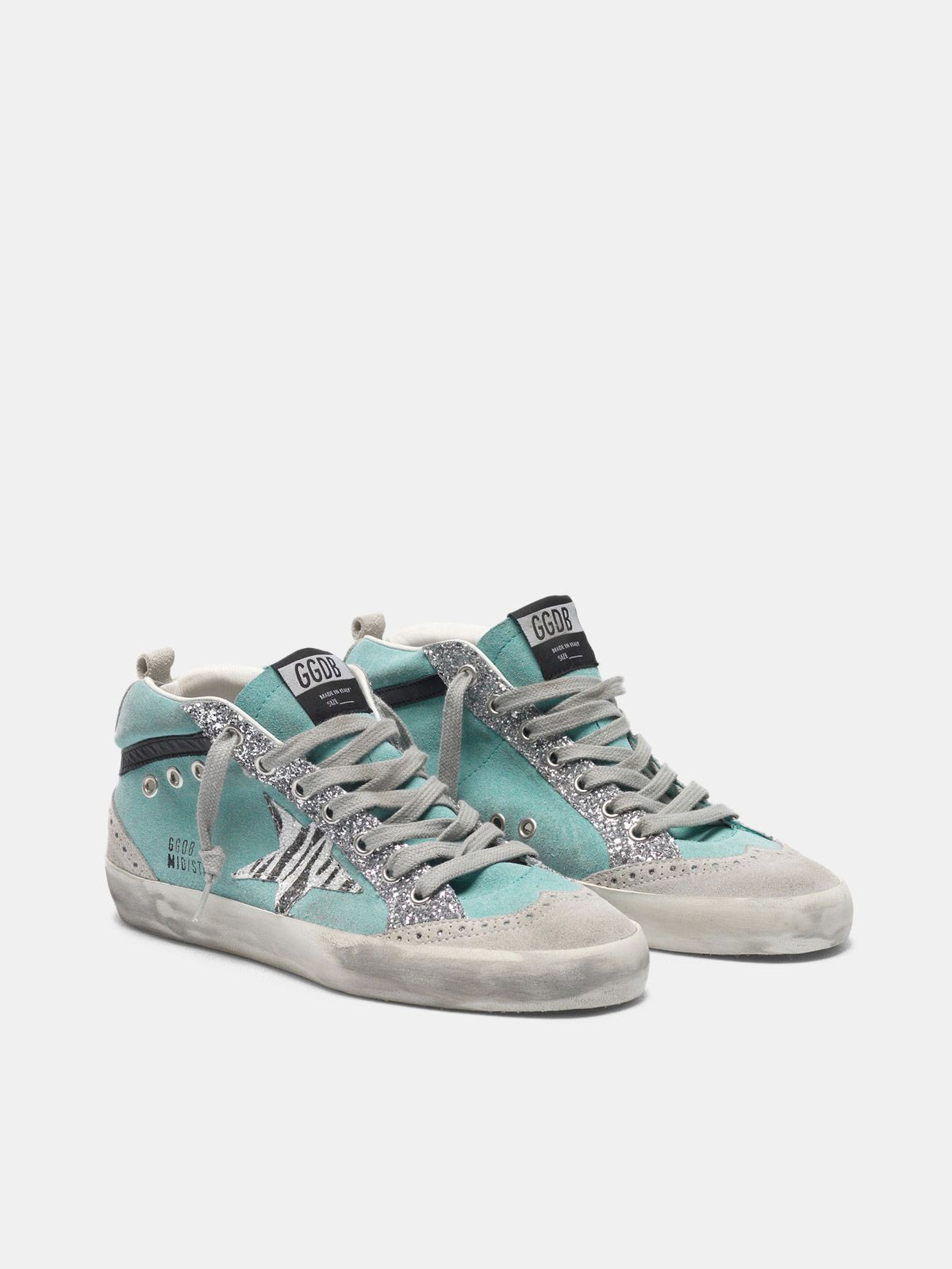 Golden Goose - Suede Mid-Star sneakers with glitter and zebra-print star in