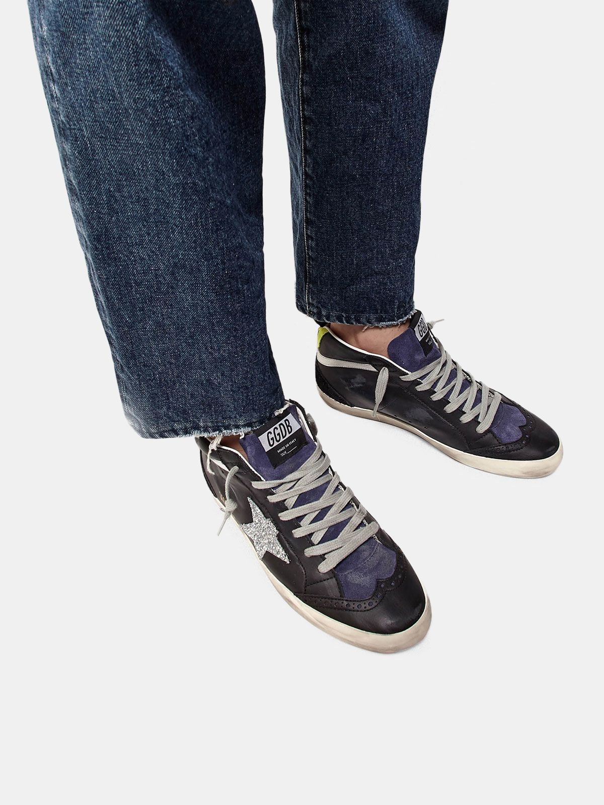 Golden Goose - Mid Star sneakers in smooth leather and suede with glitter star in