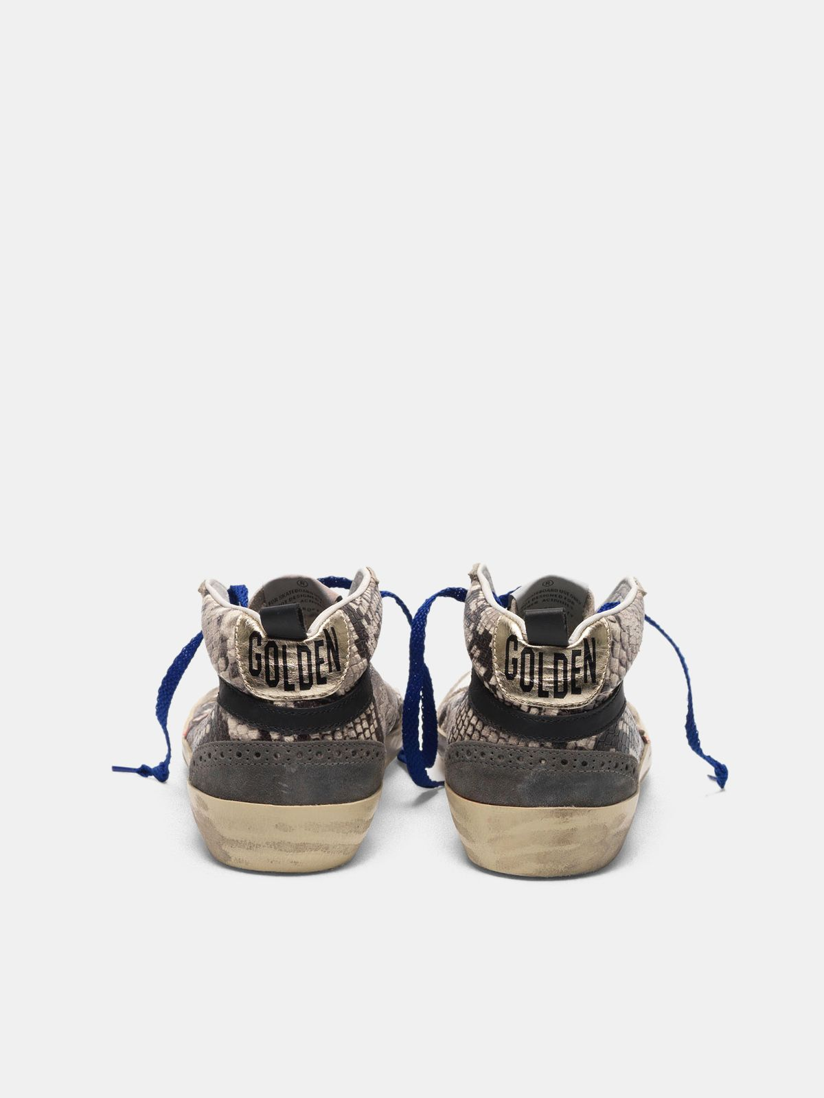 Golden Goose - Mid Star sneakers in snakeskin print leather with fuchsia star in