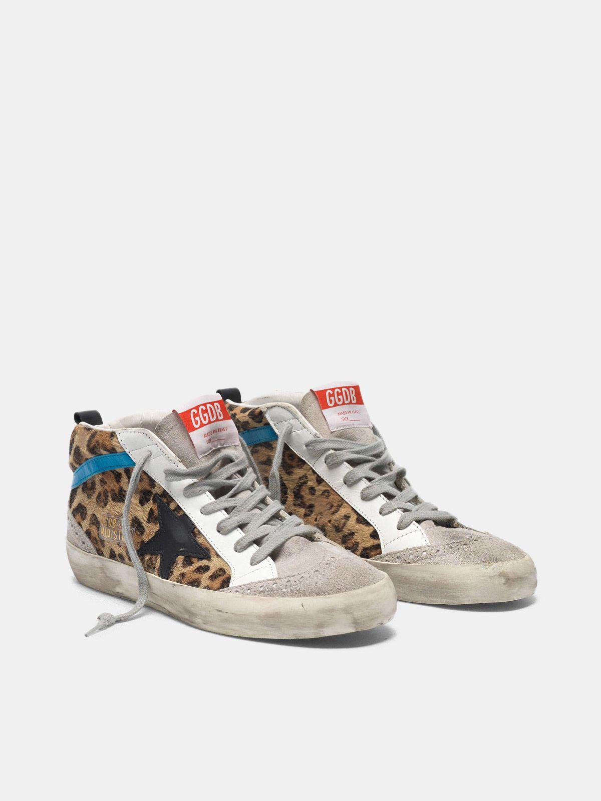 Golden Goose - Mid Star sneakers in leopard print pony skin in