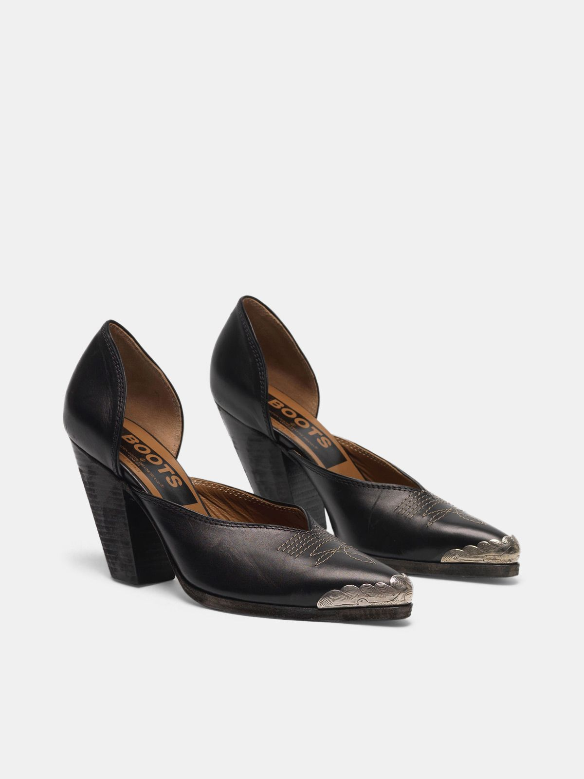 Golden Goose - Marfa pumps made of leather with metal toecap  in
