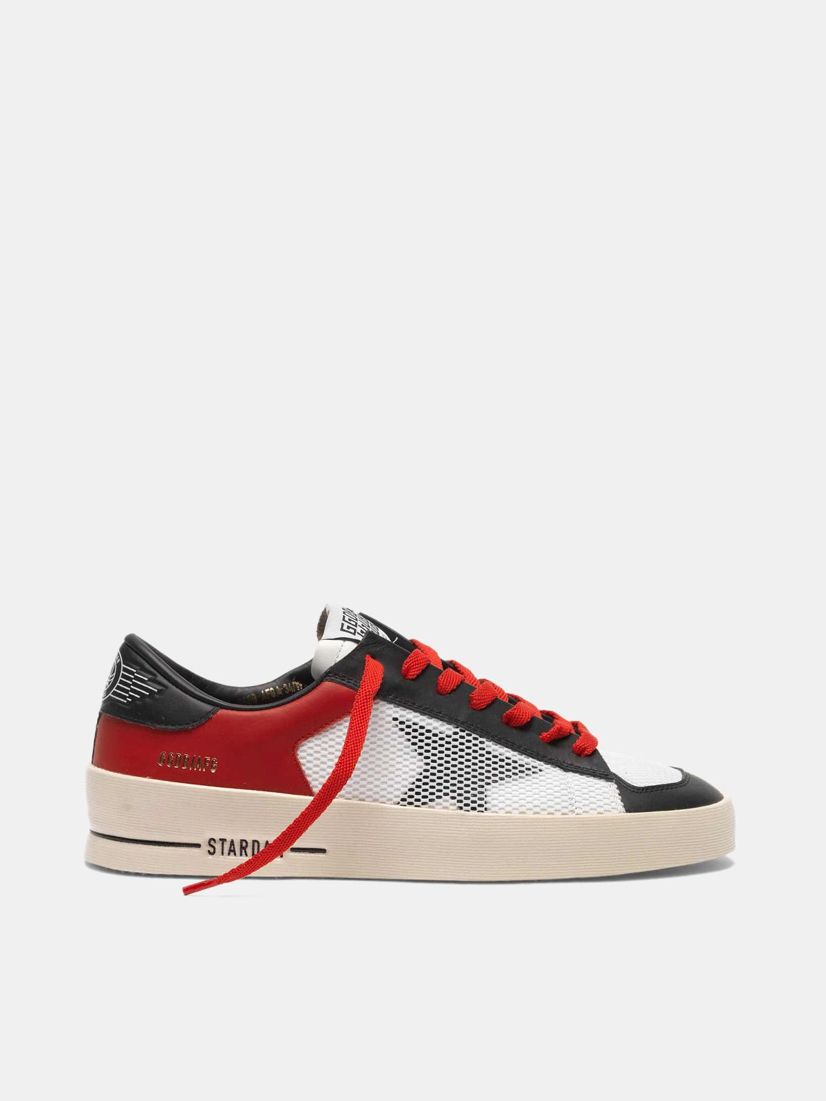 Golden Goose - Stardan sneakers in red and white leather with mesh inserts in