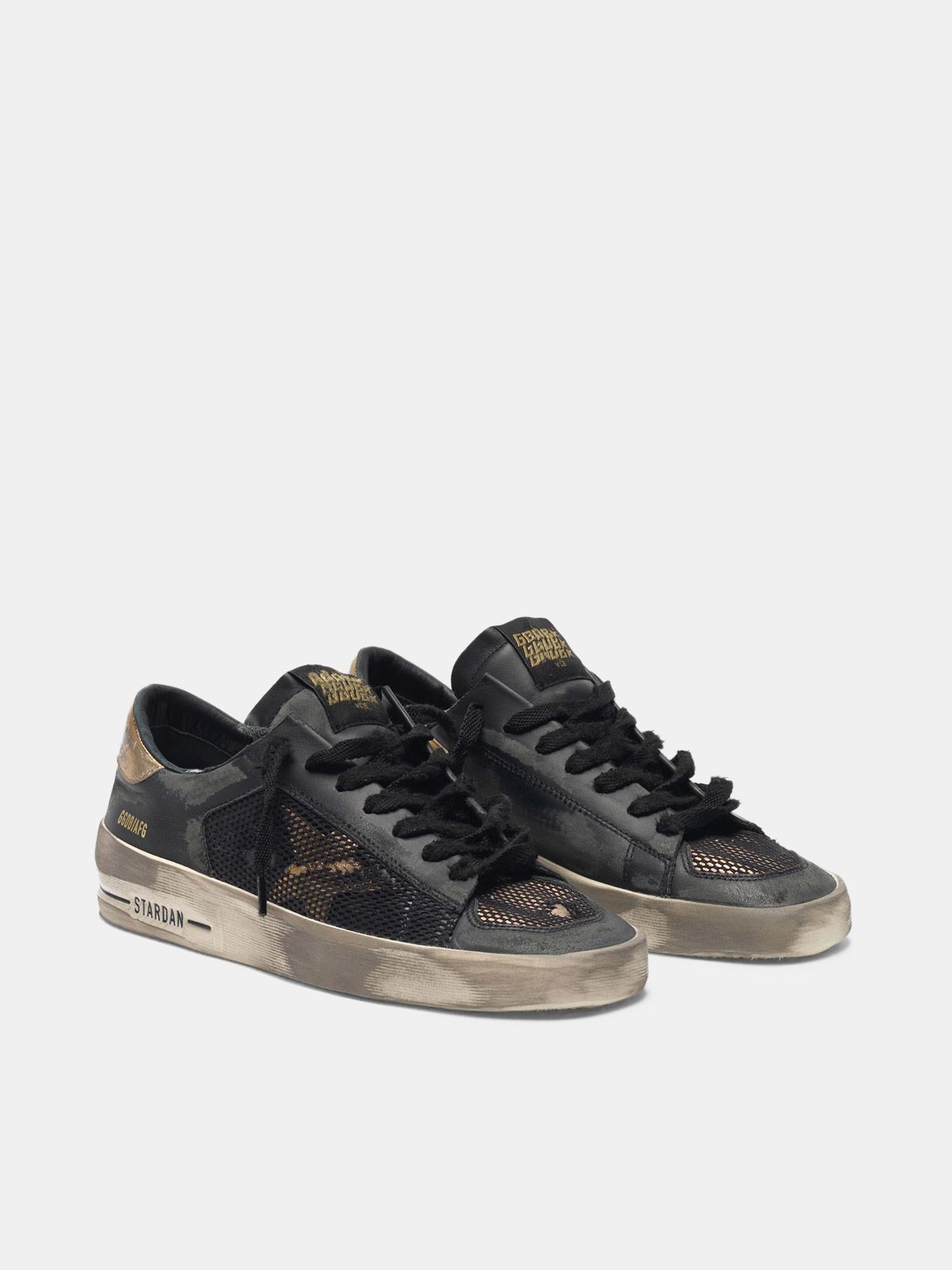 Golden Goose - Sneakers Stardan LTD black&gold distressed  in