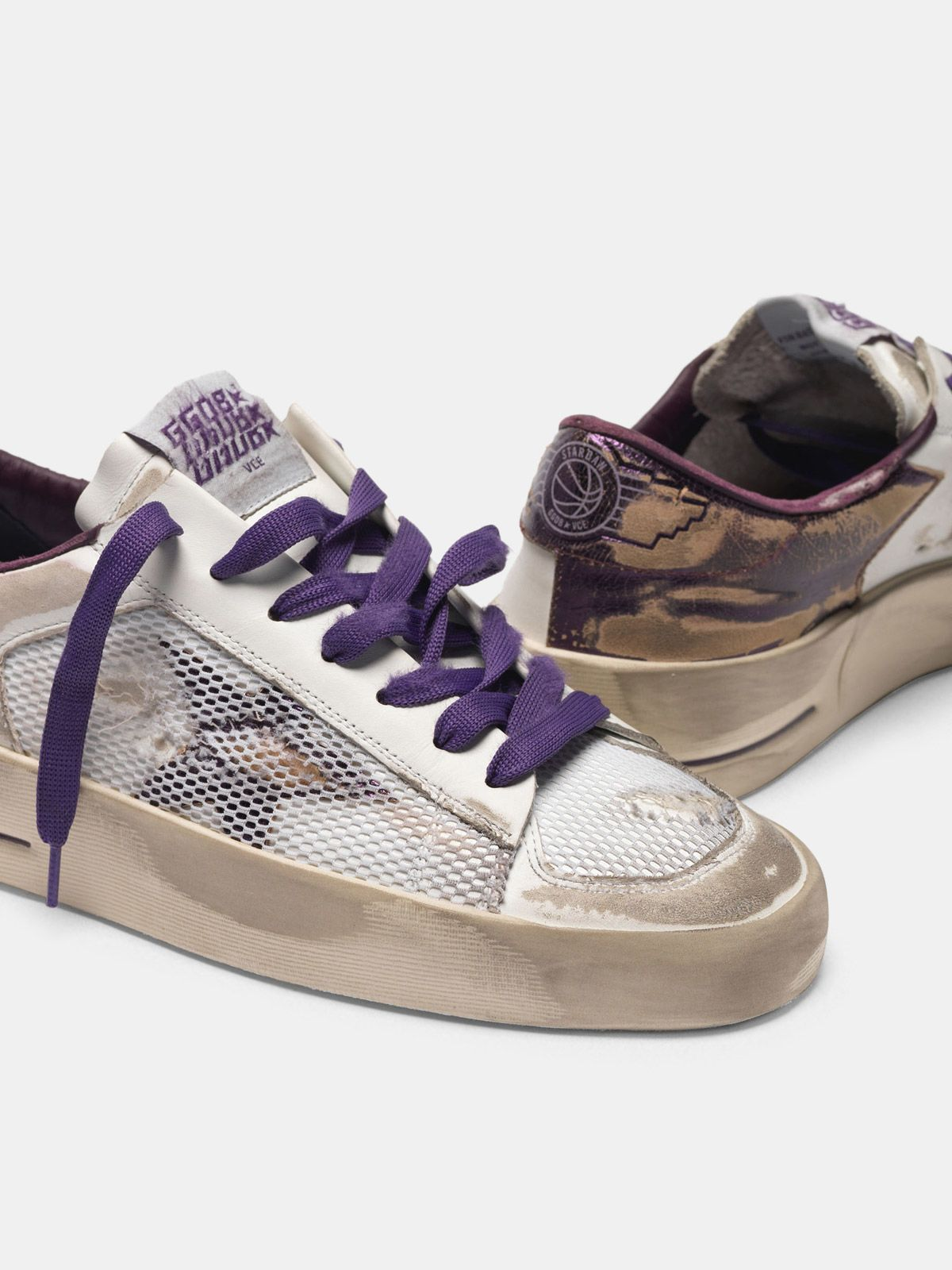 Golden Goose - Distressed white and purple Stardan LTD sneakers  in