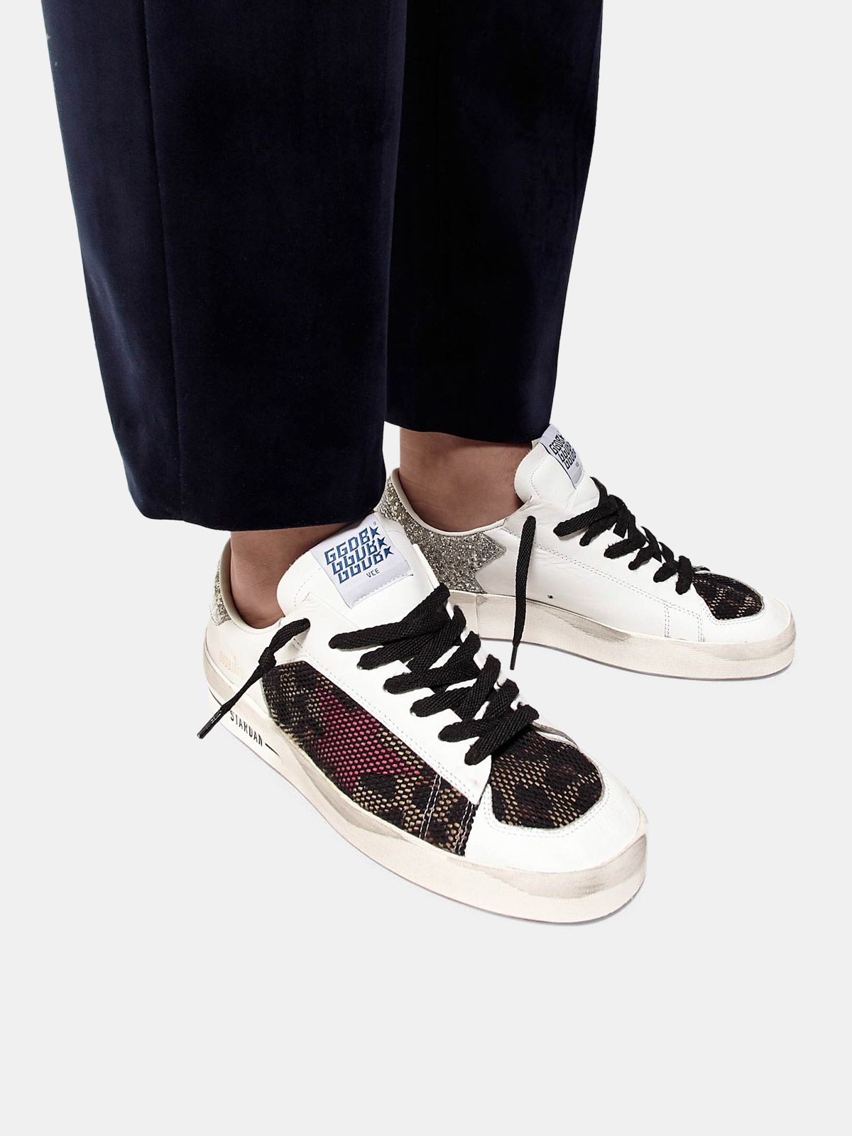Golden Goose - Stardan sneakers with leopard-print star and glittery heel tab in