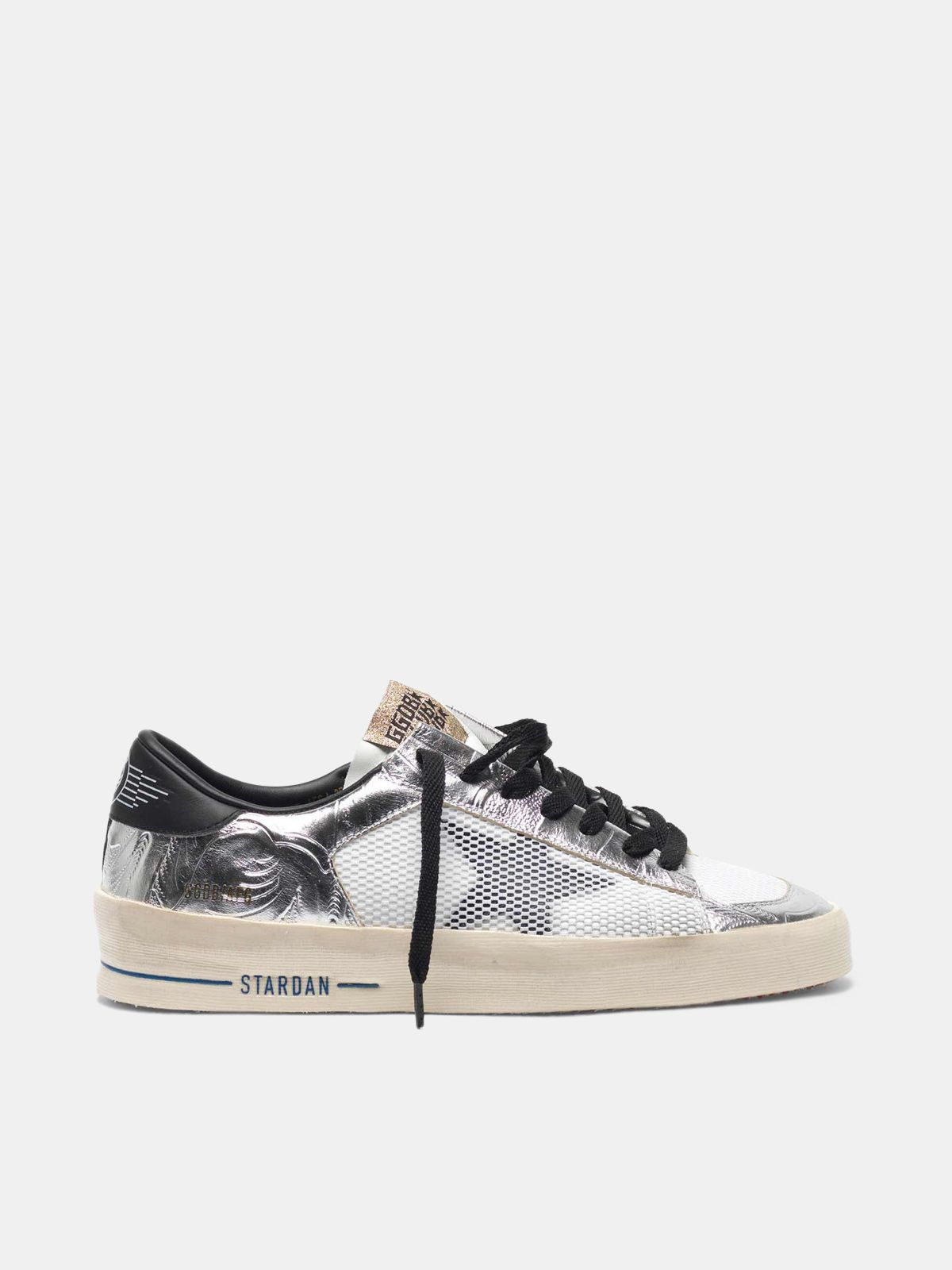 Golden Goose - Stardan sneakers in laminated silver with floral design relief in
