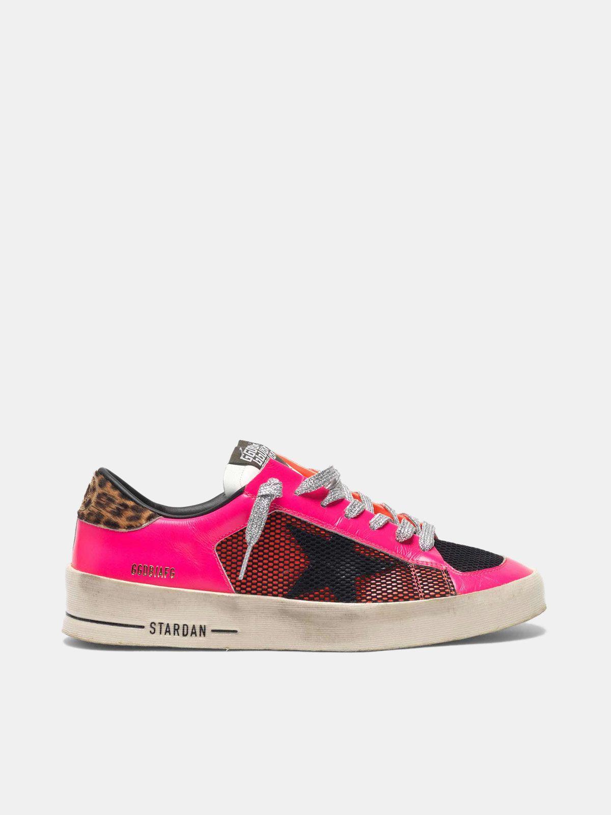 Golden Goose - Stardan sneakers in fluorescent patchwork with leopard print heel tab in