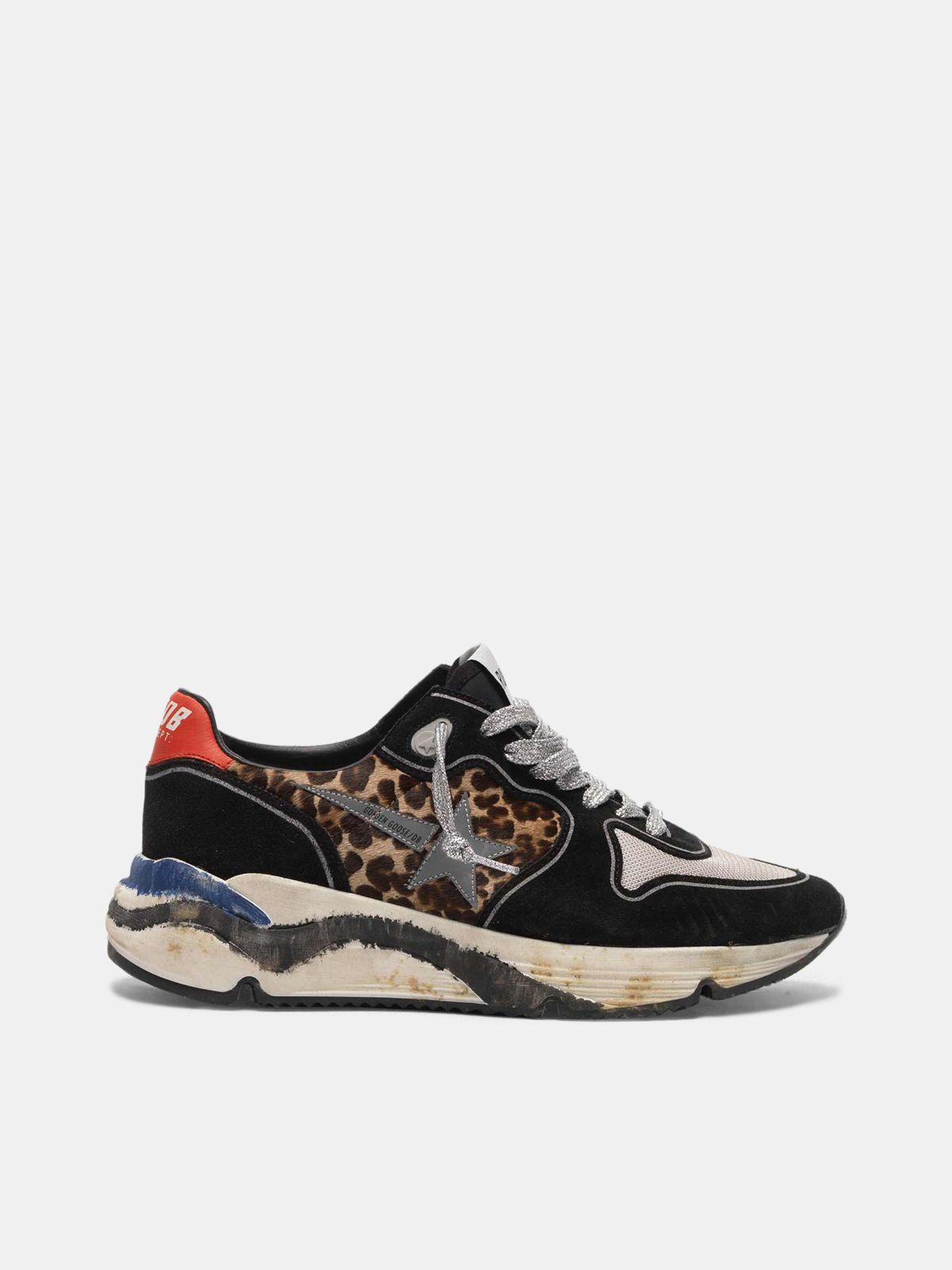Golden Goose - Sneakers Running Sole in cavallino stampa leopardata e suede in
