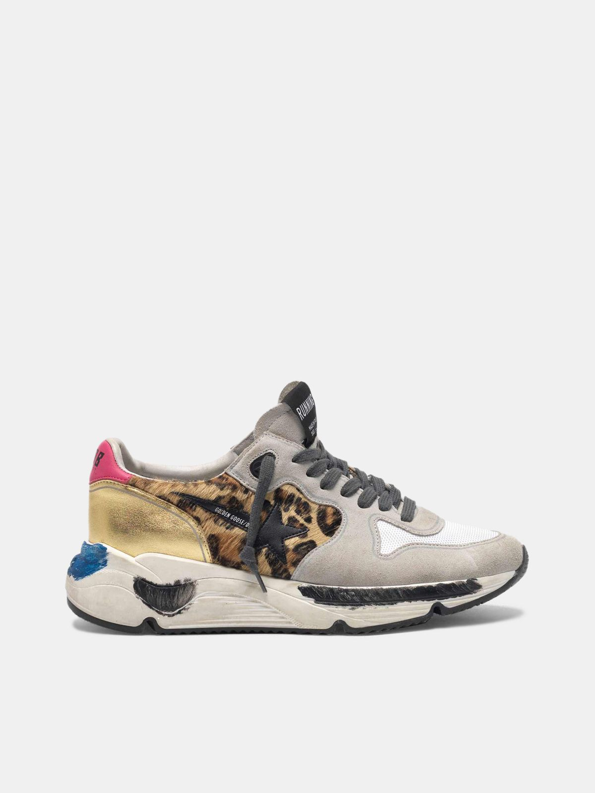 Golden Goose - Running Sole sneakers in leopard print pony skin and gold back in