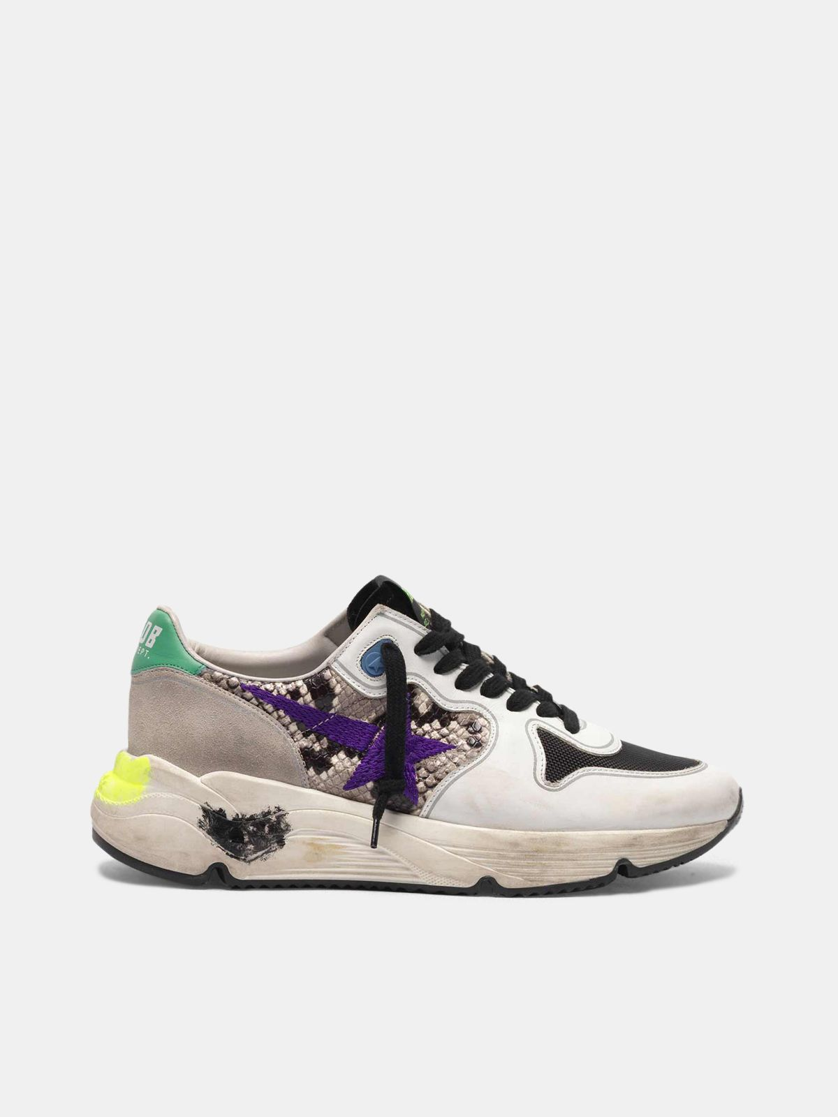 Golden Goose - Running Sole sneakers in snakeskin print leather with purple embroidered star in