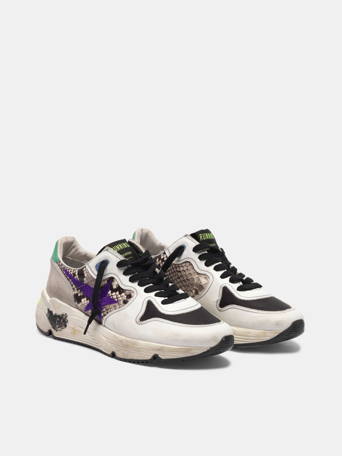 Golden Goose - Sneakers Running Sole in pelle stampa serpente con stella viola ricamata in