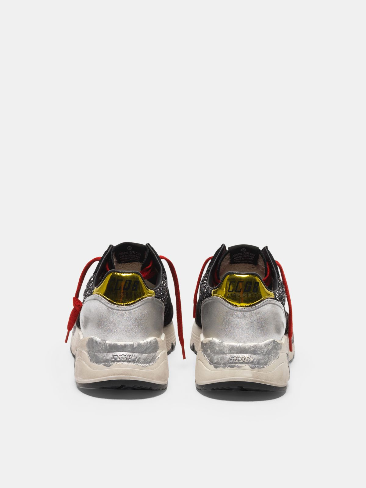 Golden Goose - Running Sole sneakers with glitter, laminated leather and red laces in