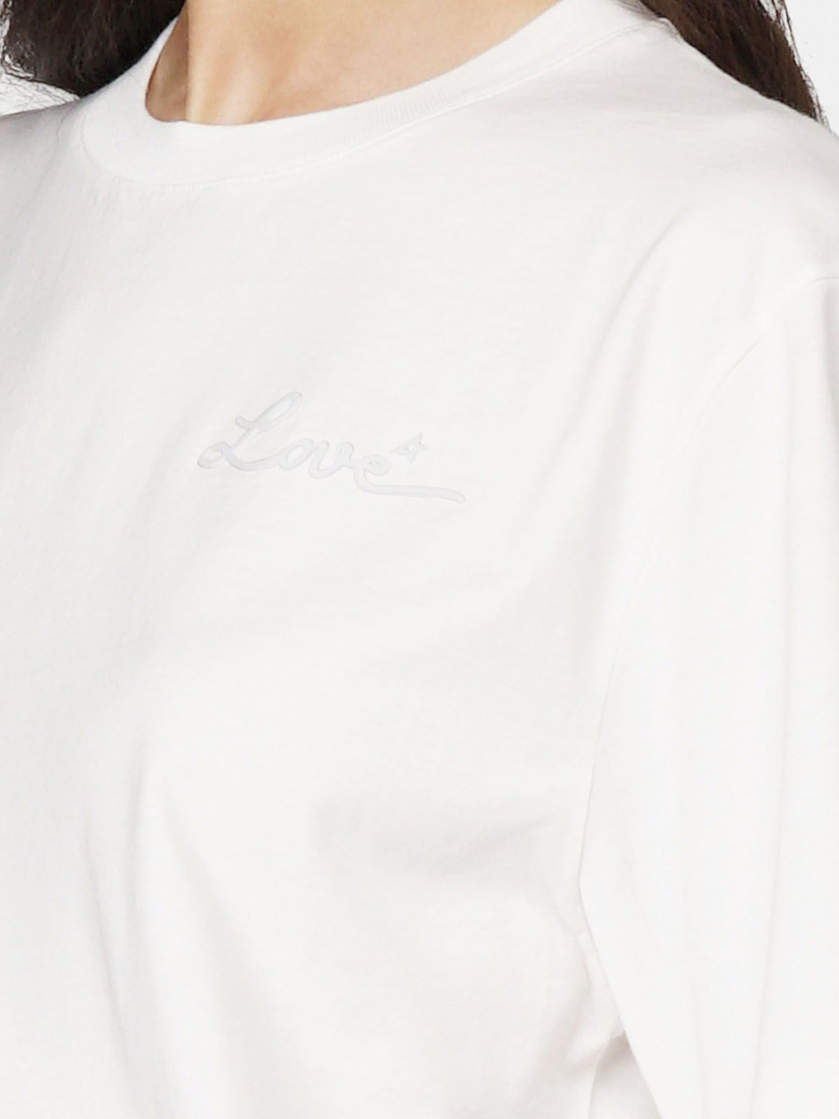 Golden Goose - White Golden T-shirt with Love embroidery in