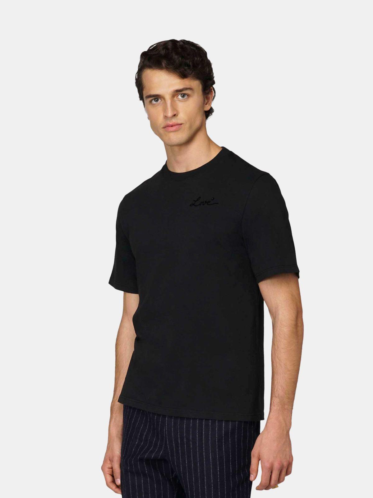 Golden Goose - T-shirt Golden nera con ricamo Love in