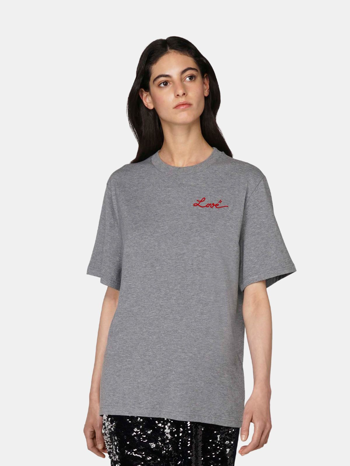 Golden Goose - Grey Golden T-shirt with Love embroidery in