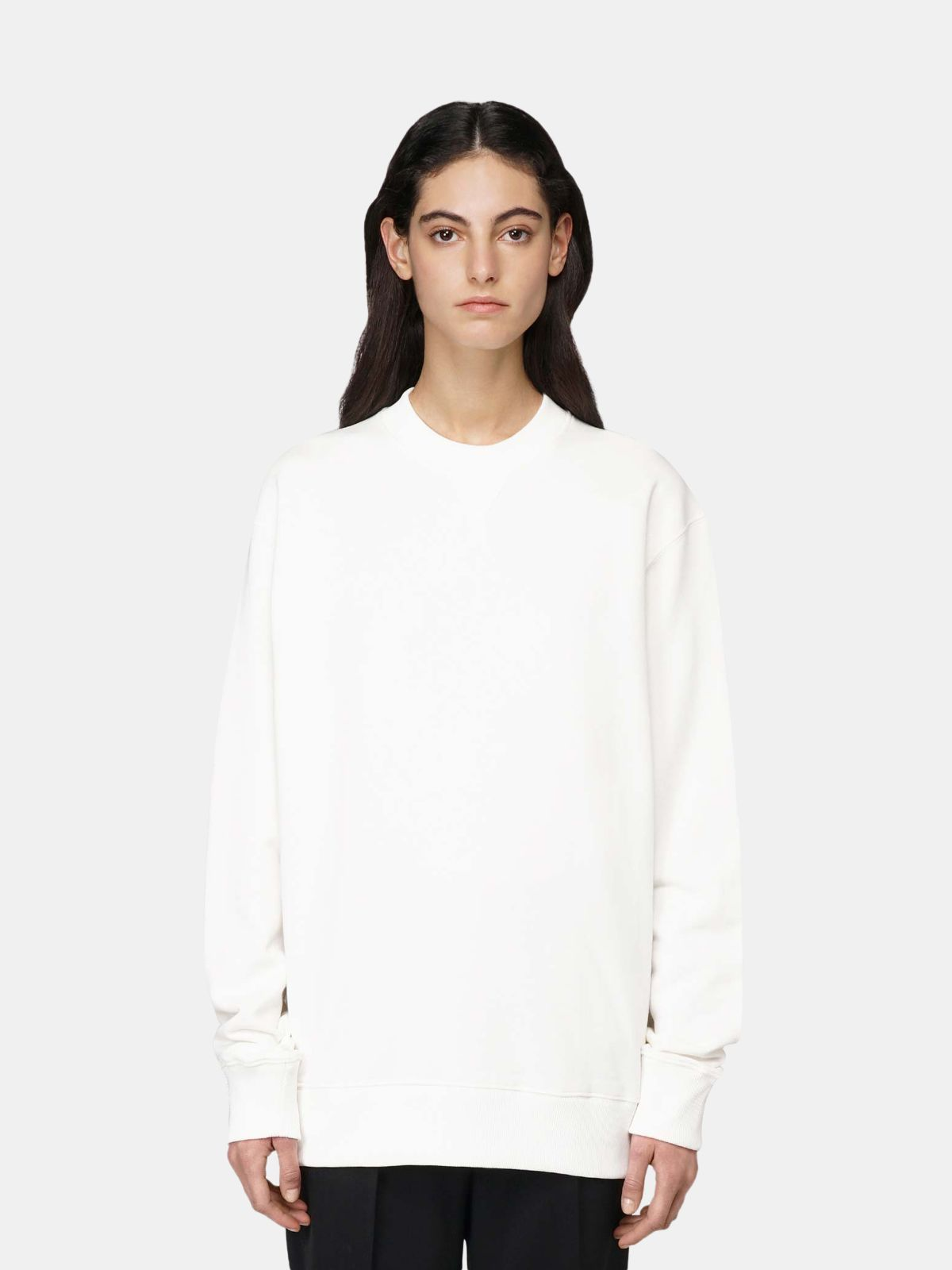 Golden Goose - White Robbie sweatshirt with Love embroidery in