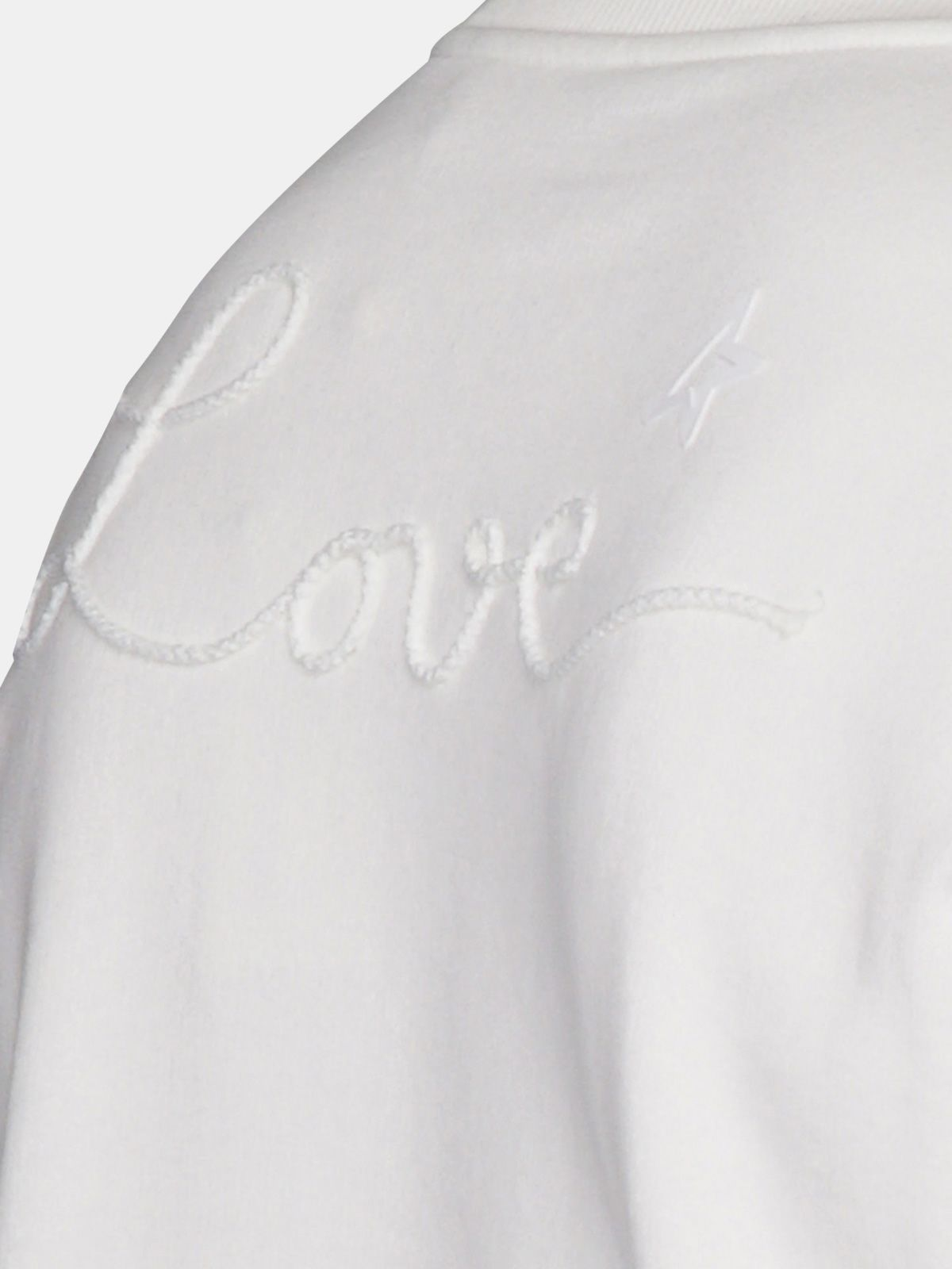 Golden Goose - Felpa Robbie bianca con ricamo Love in
