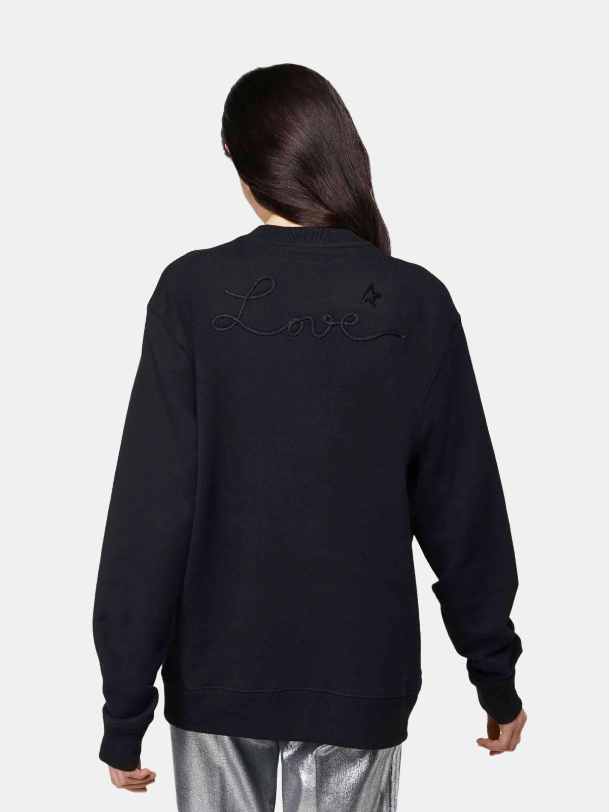 Golden Goose - Black Robbie sweatshirt with Love embroidery in