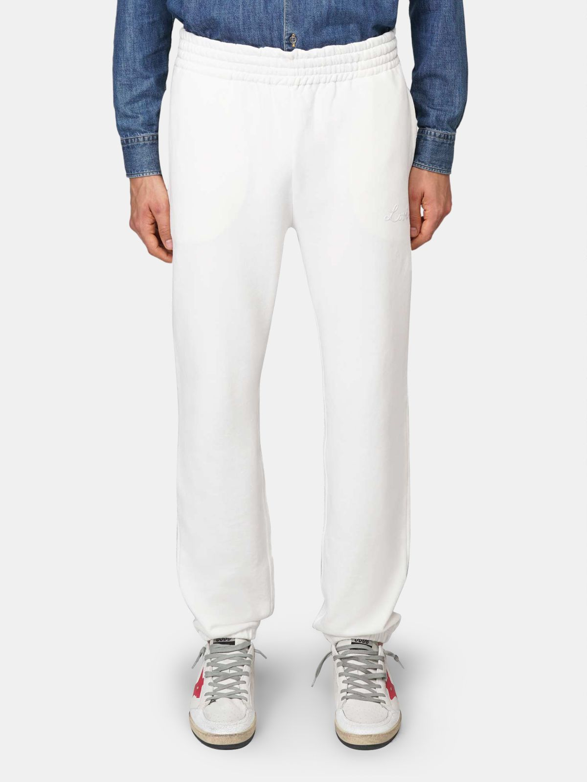 Golden Goose - White Hamm joggers with Love embroidery in
