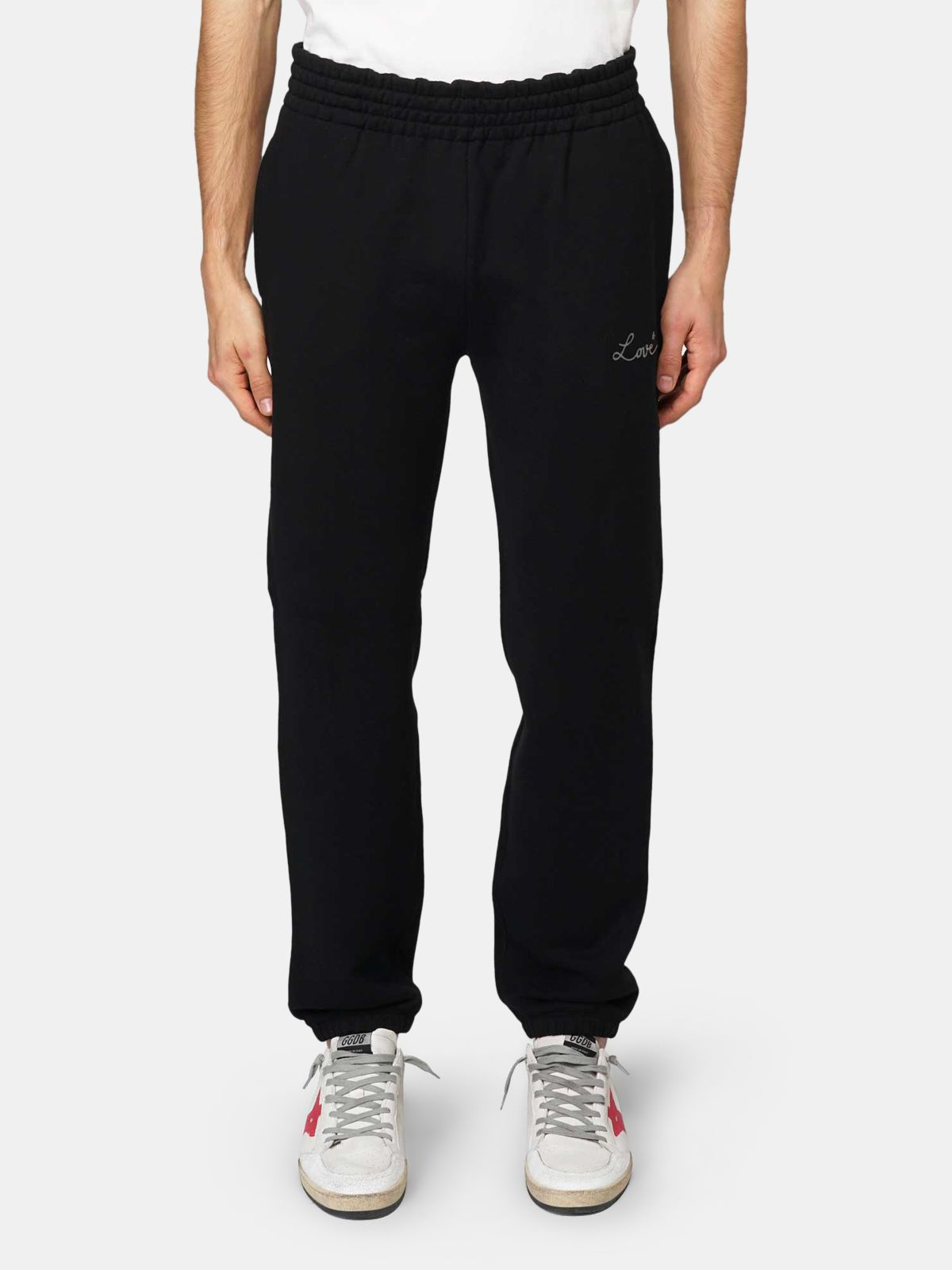 Golden Goose - Black Hamm joggers with Love embroidery in