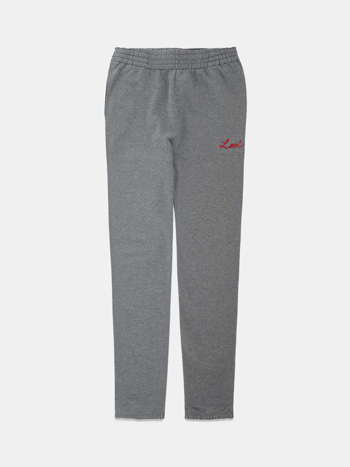 Golden Goose - Grey Hamm joggers with Love embroidery in
