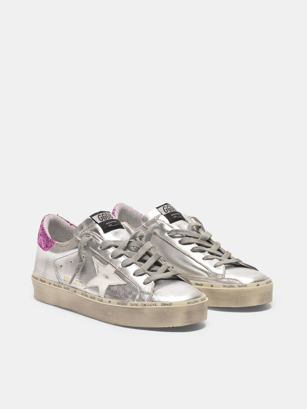 Golden Goose - Hi-Star white and gold sneakers with sparkle foxing in