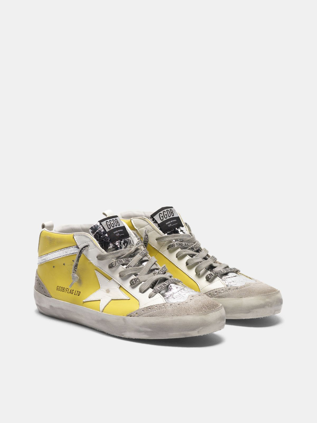 Golden Goose - Mid Star sneakers in leather with crackle details in