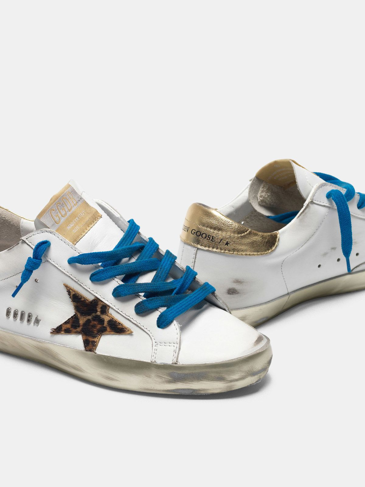 Golden Goose - Sneakers Super-Star con foxing sparkle e stella leopardata in