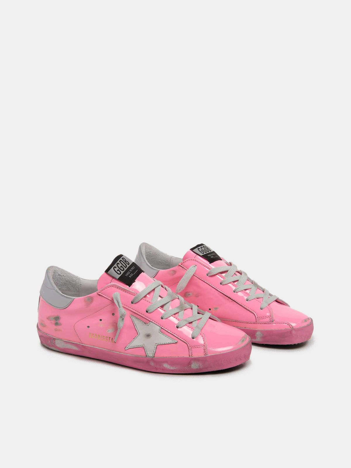 Golden Goose - Sneakers Super-Star rosa con talloncino argento in
