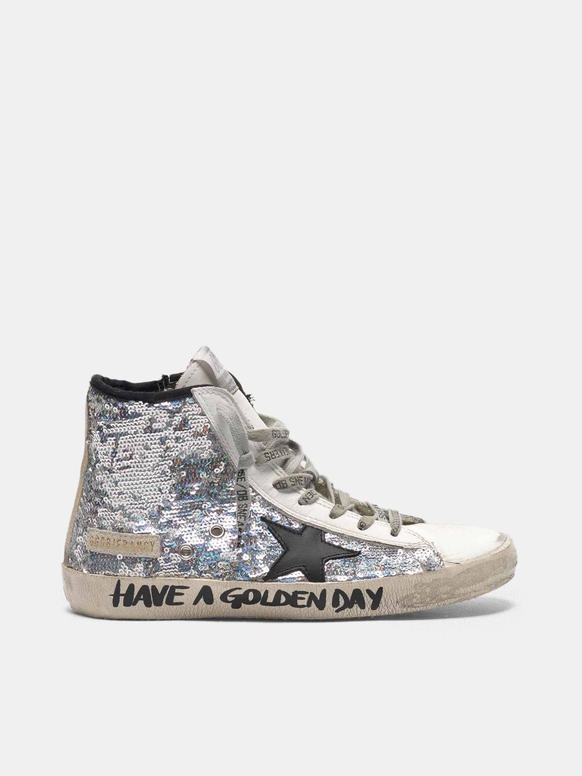 Golden Goose - Francy sneakers with silver sequins and handwritten lettering in